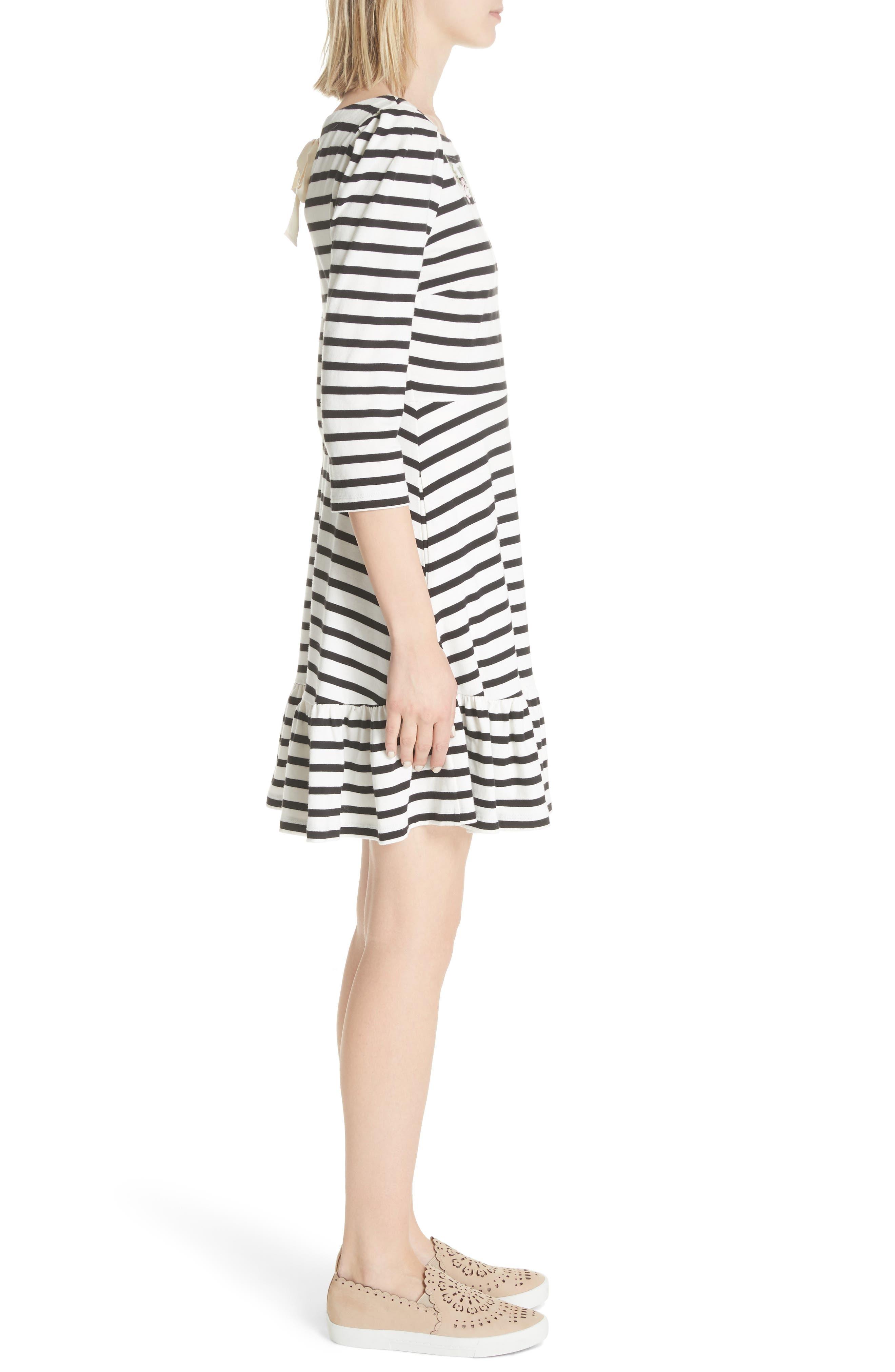 stripe fit & flare dress,                             Alternate thumbnail 3, color,                             Off-White/ Black