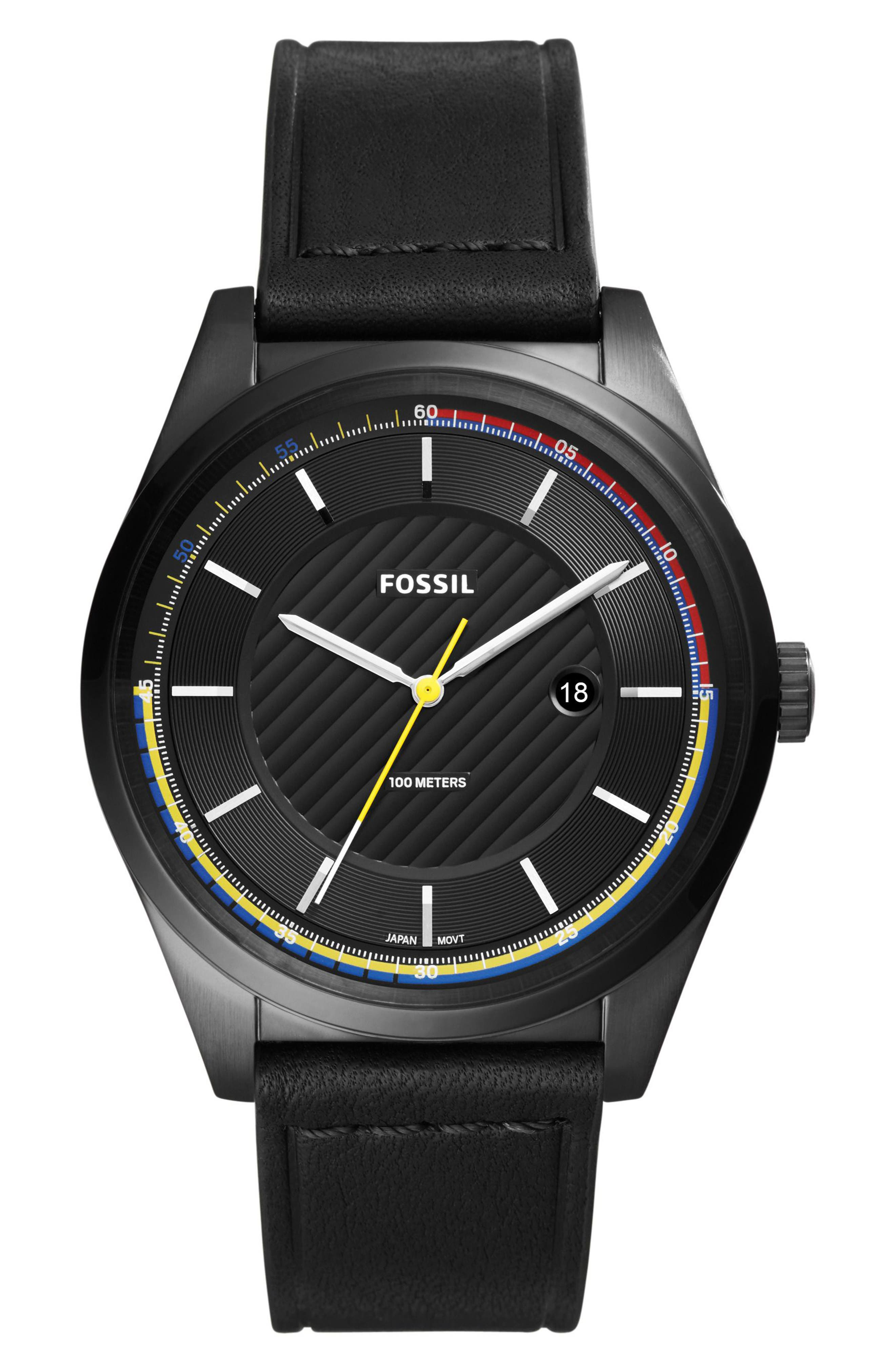 Mathis Leather Strap Watch, 44mm,                         Main,                         color, Black