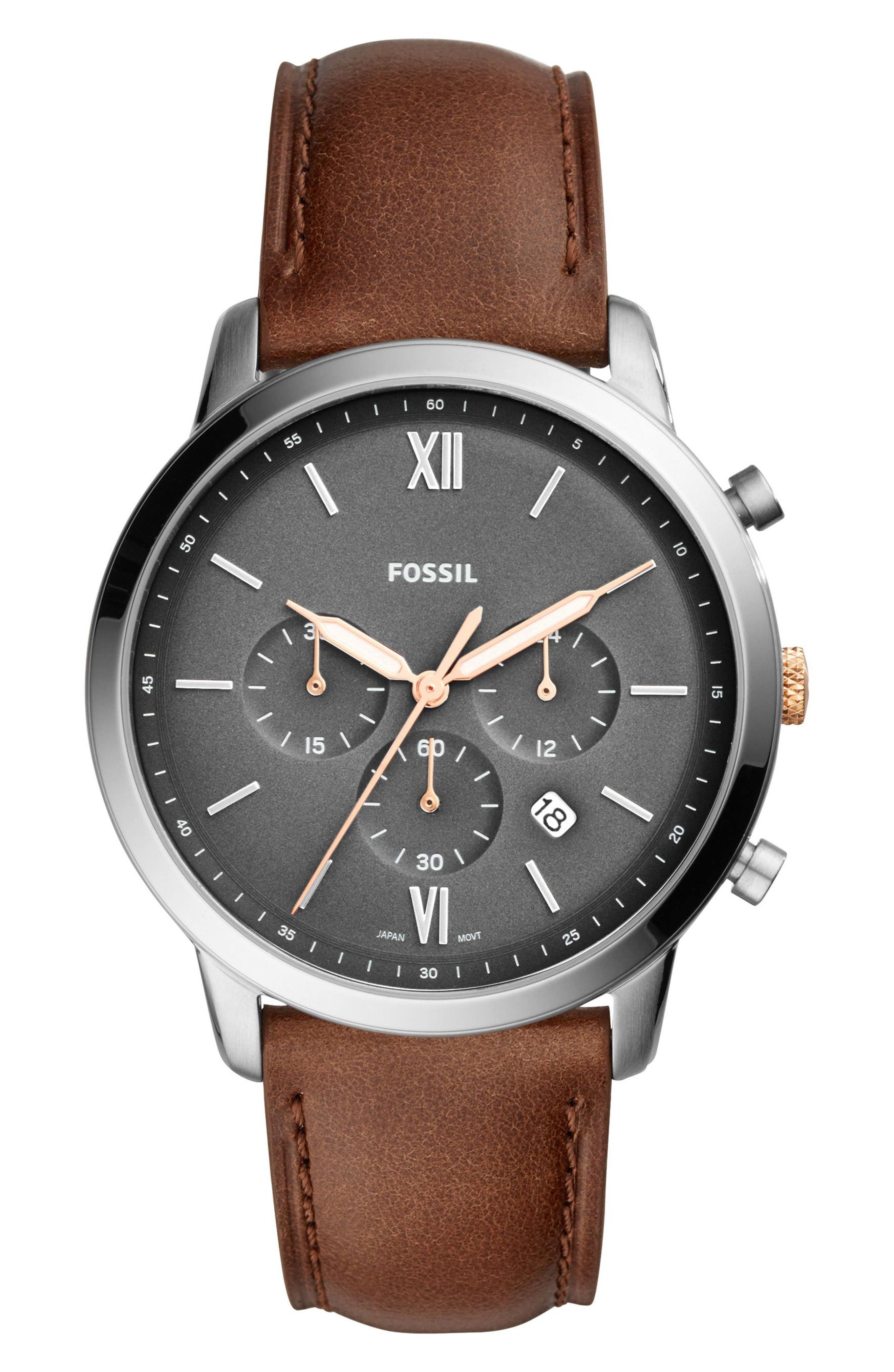 Neutra Chronograph Leather Strap Watch, 44mm,                         Main,                         color, Brown/ Grey/ Silver