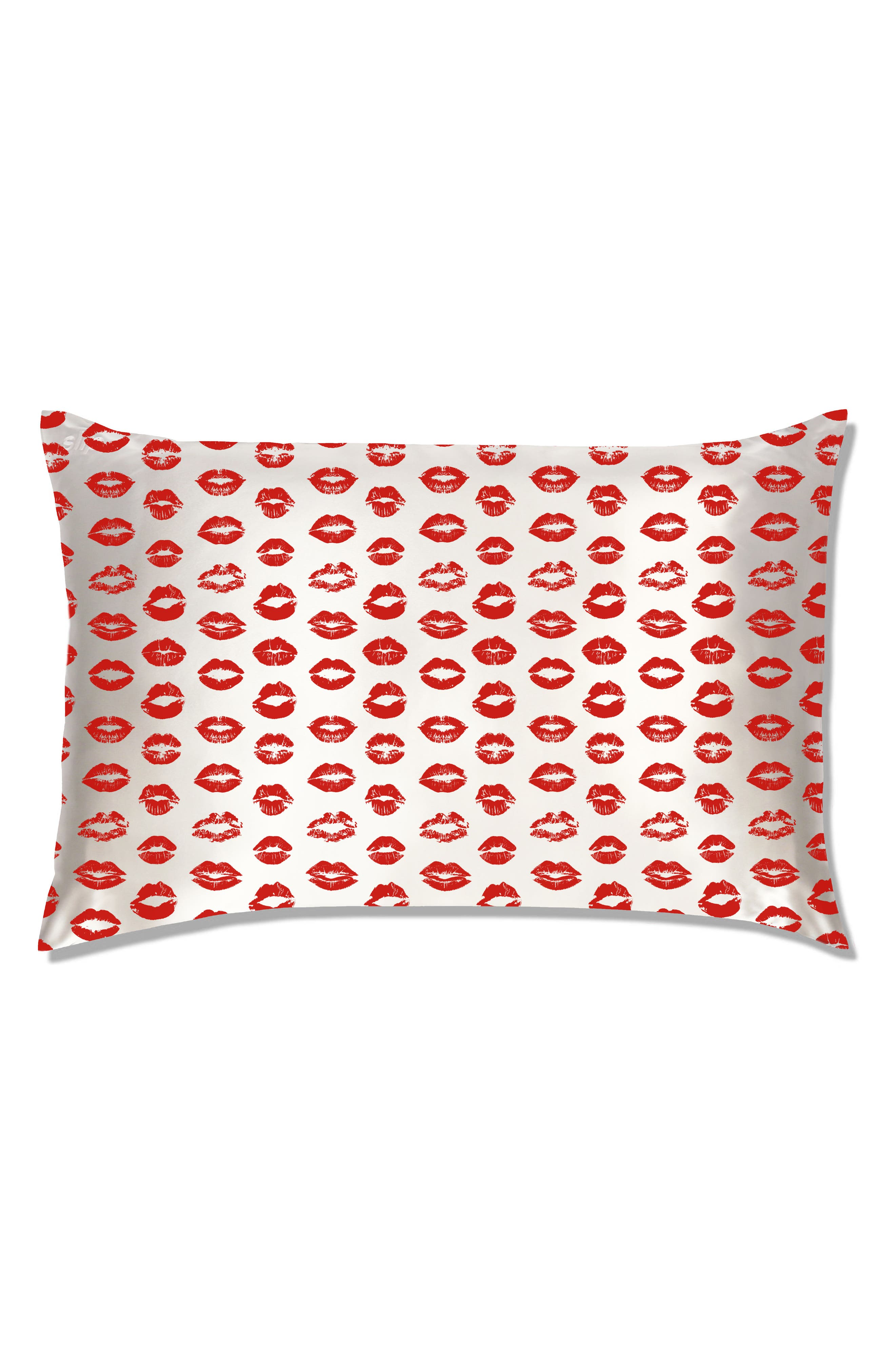 slip<sup>™</sup> for beauty sleep Slipsilk<sup>™</sup> Red Kisses Pure Silk Pillowcase,                             Alternate thumbnail 2, color,                             Red Kisses