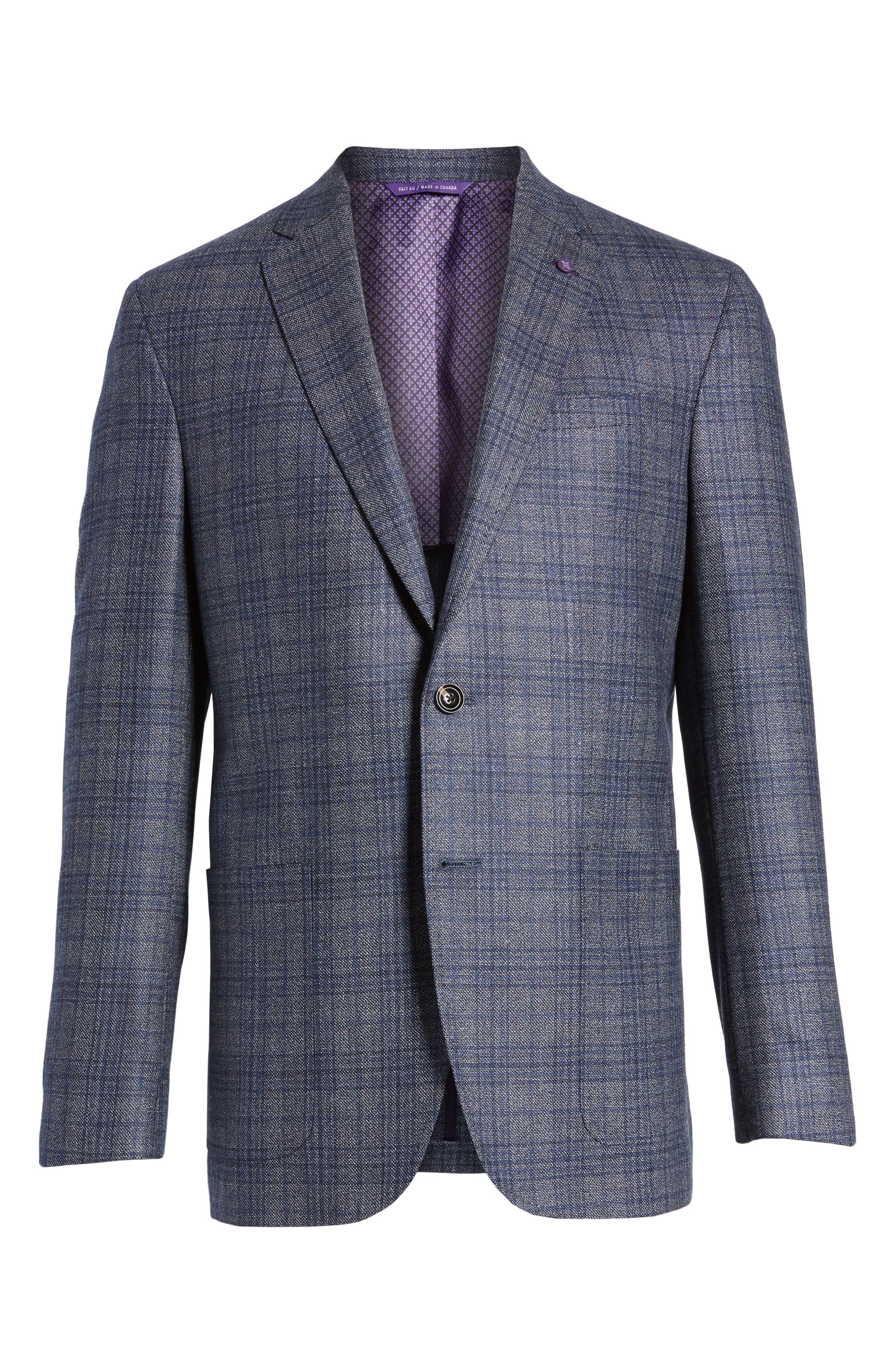 Kyle Trim Fit Plaid Silk & Wool Sport Coat,                             Alternate thumbnail 6, color,                             Grey