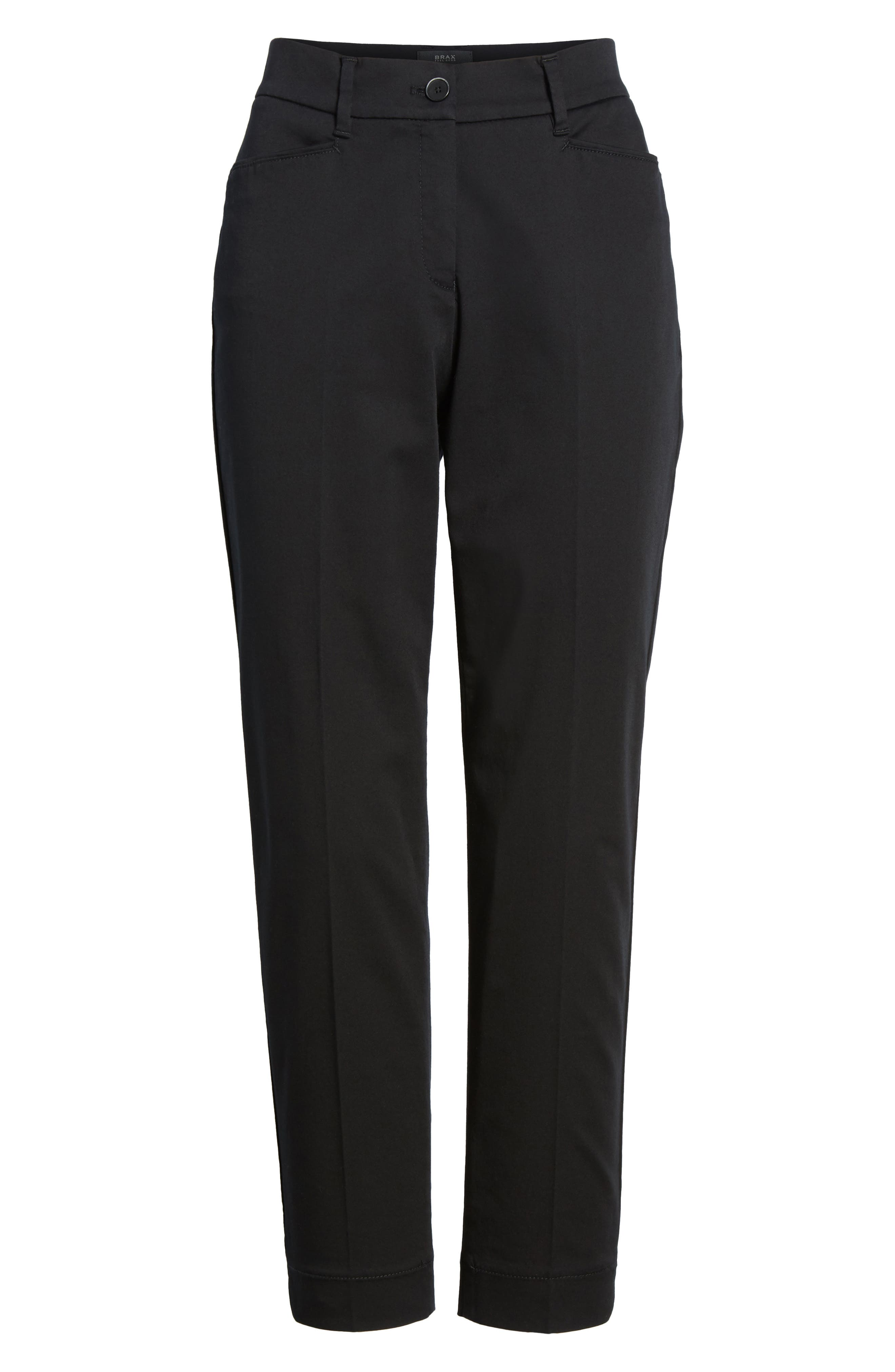Straight Leg Cropped Trousers,                             Alternate thumbnail 7, color,                             Black