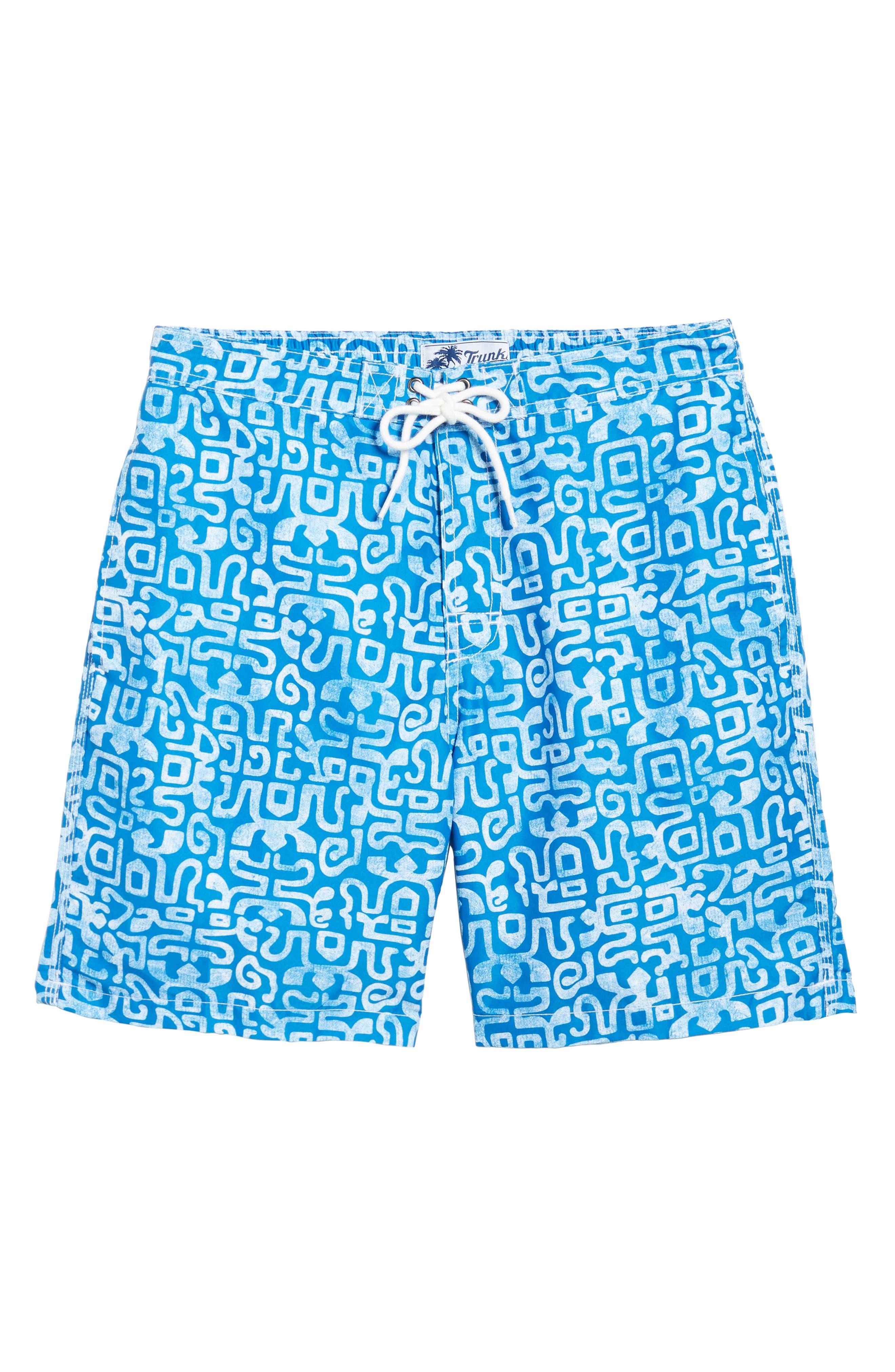 Trunks Swim & Surf CO. Swami Geo Print Board Shorts,                             Alternate thumbnail 6, color,                             Nautical Blue/ White