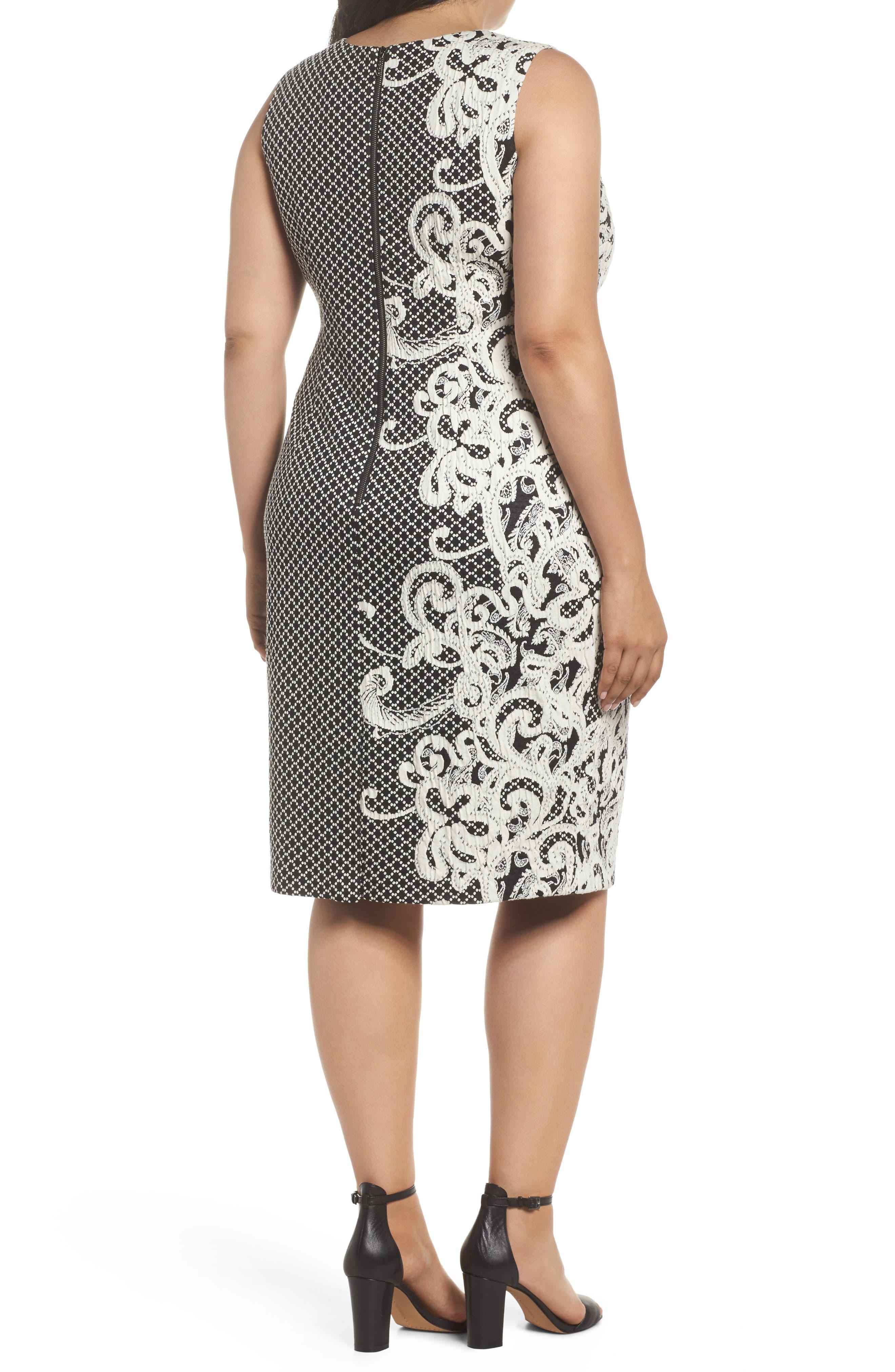 Scroll Border Knit Sheath Dress,                             Alternate thumbnail 2, color,                             Black/ Ivory