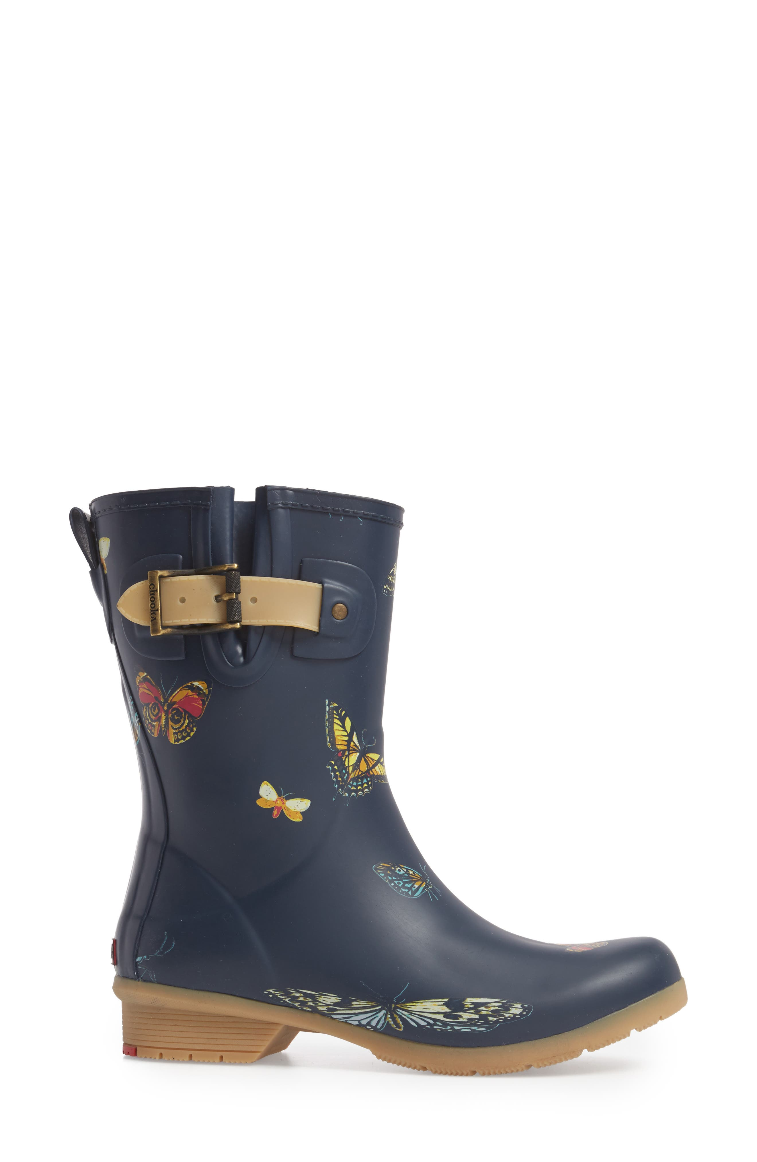 City Solid Mid Height Rain Boot,                             Alternate thumbnail 3, color,                             Navy