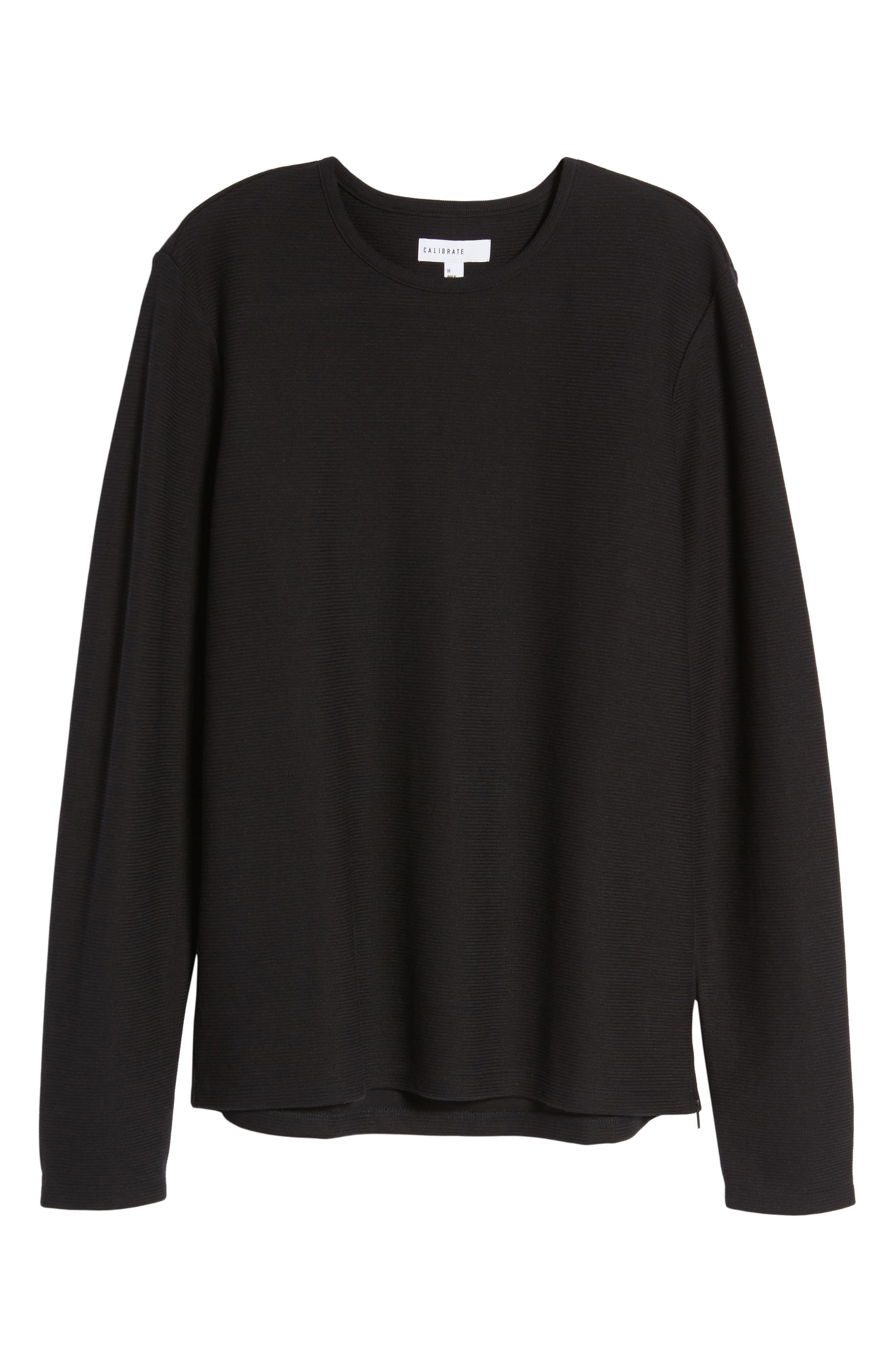 Side Zip Thermal Sweatshirt,                             Alternate thumbnail 6, color,                             Black