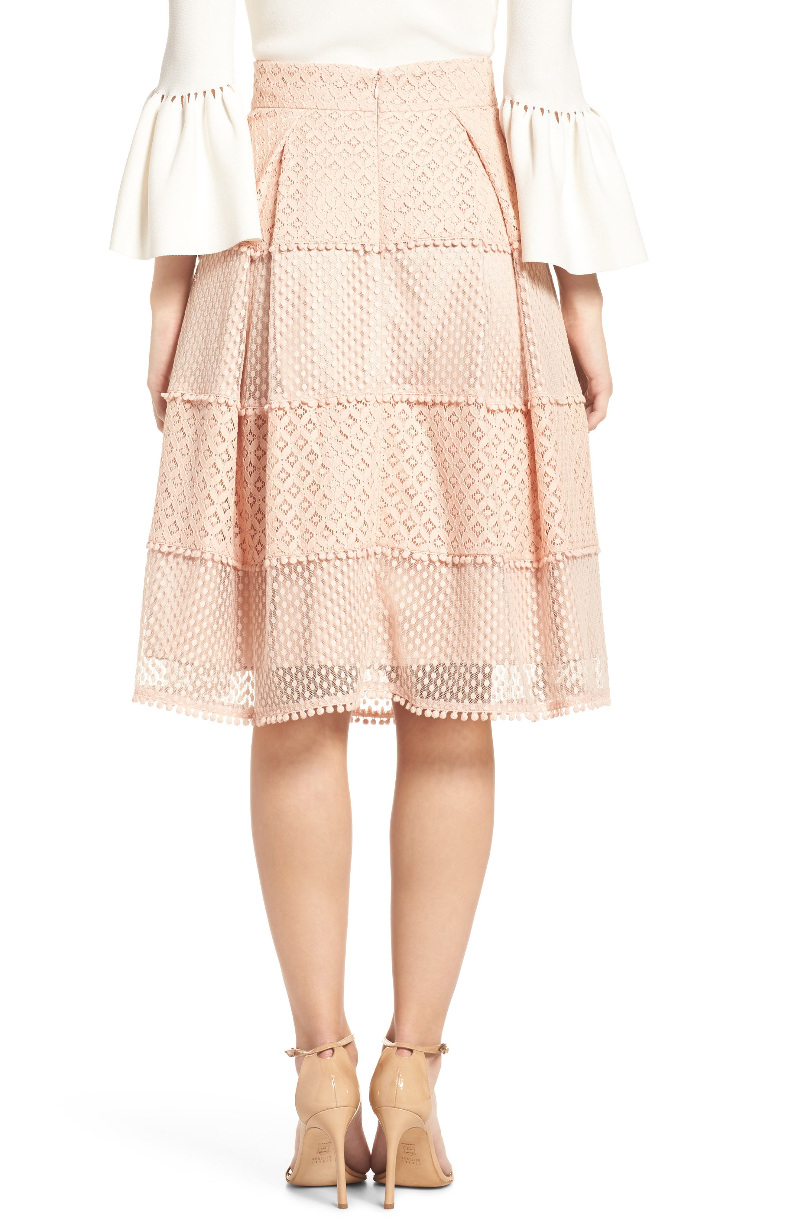 Banded Lace Midi Skirt,                             Alternate thumbnail 2, color,                             Blush