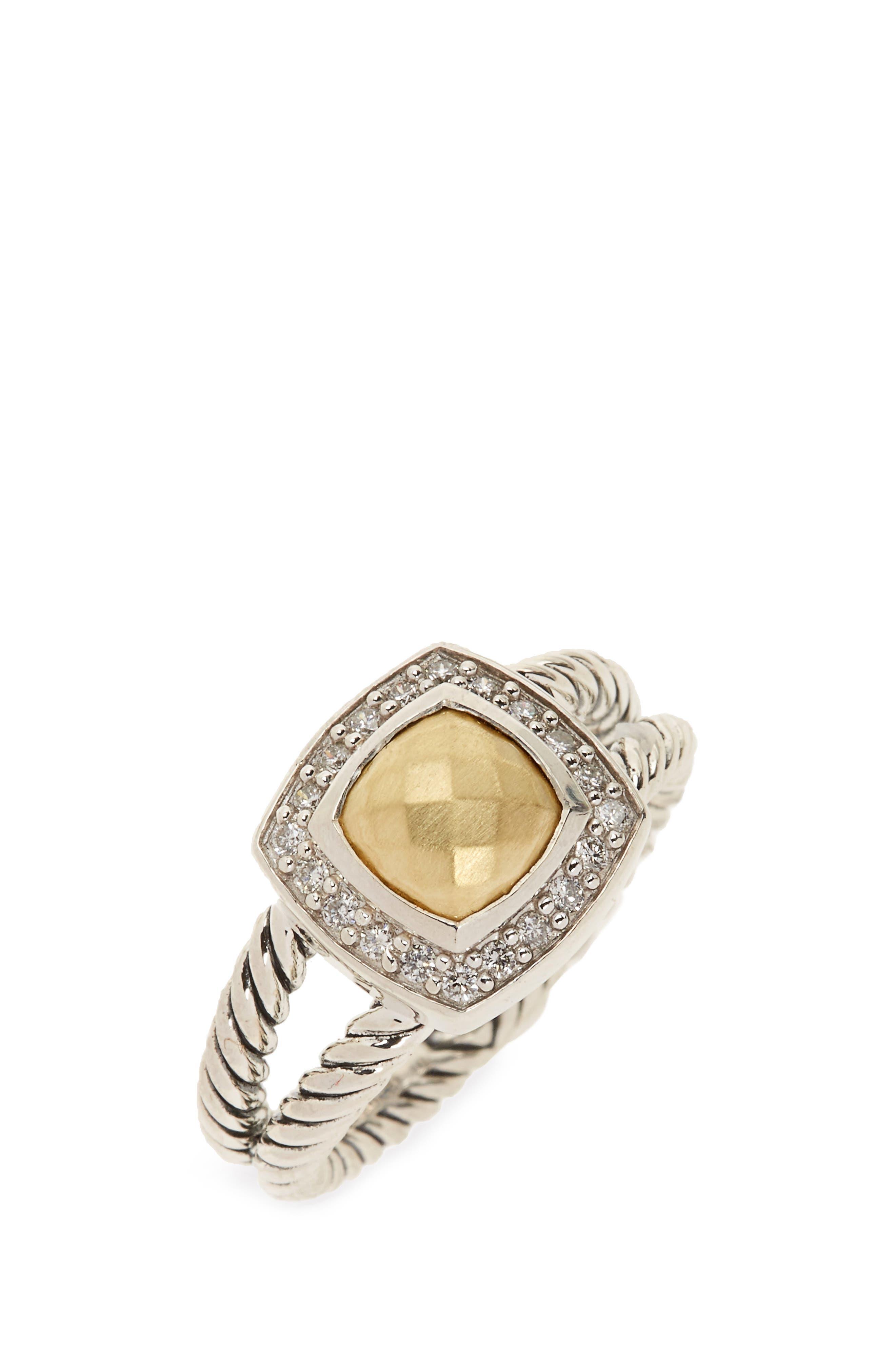 Petite Albion Ring with Semiprecious Stone & Diamonds,                         Main,                         color, Silver/ Gold