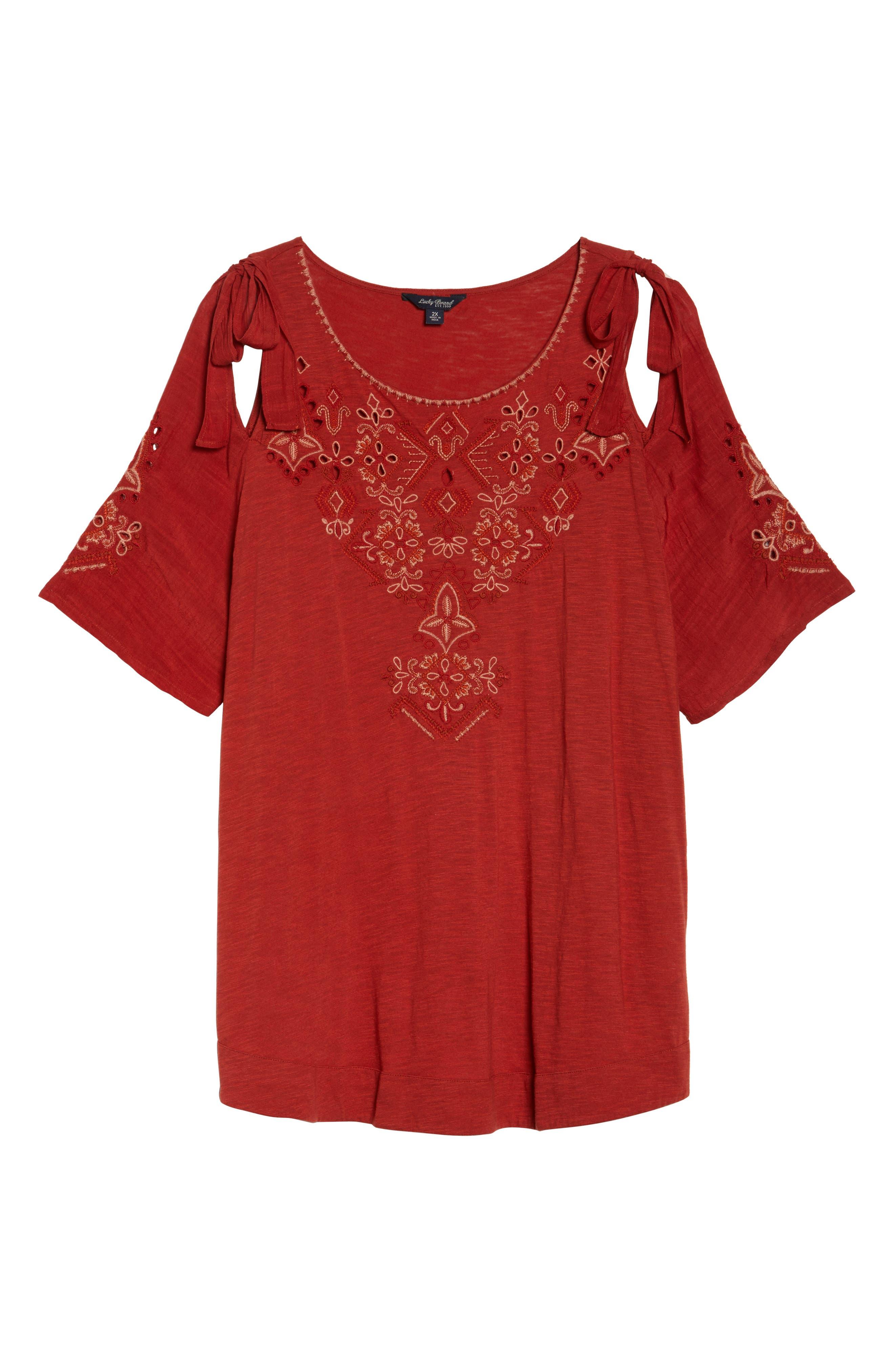 Embroidered Tie Shoulder Cold Shoulder Top,                             Alternate thumbnail 6, color,                             Heirloom Red