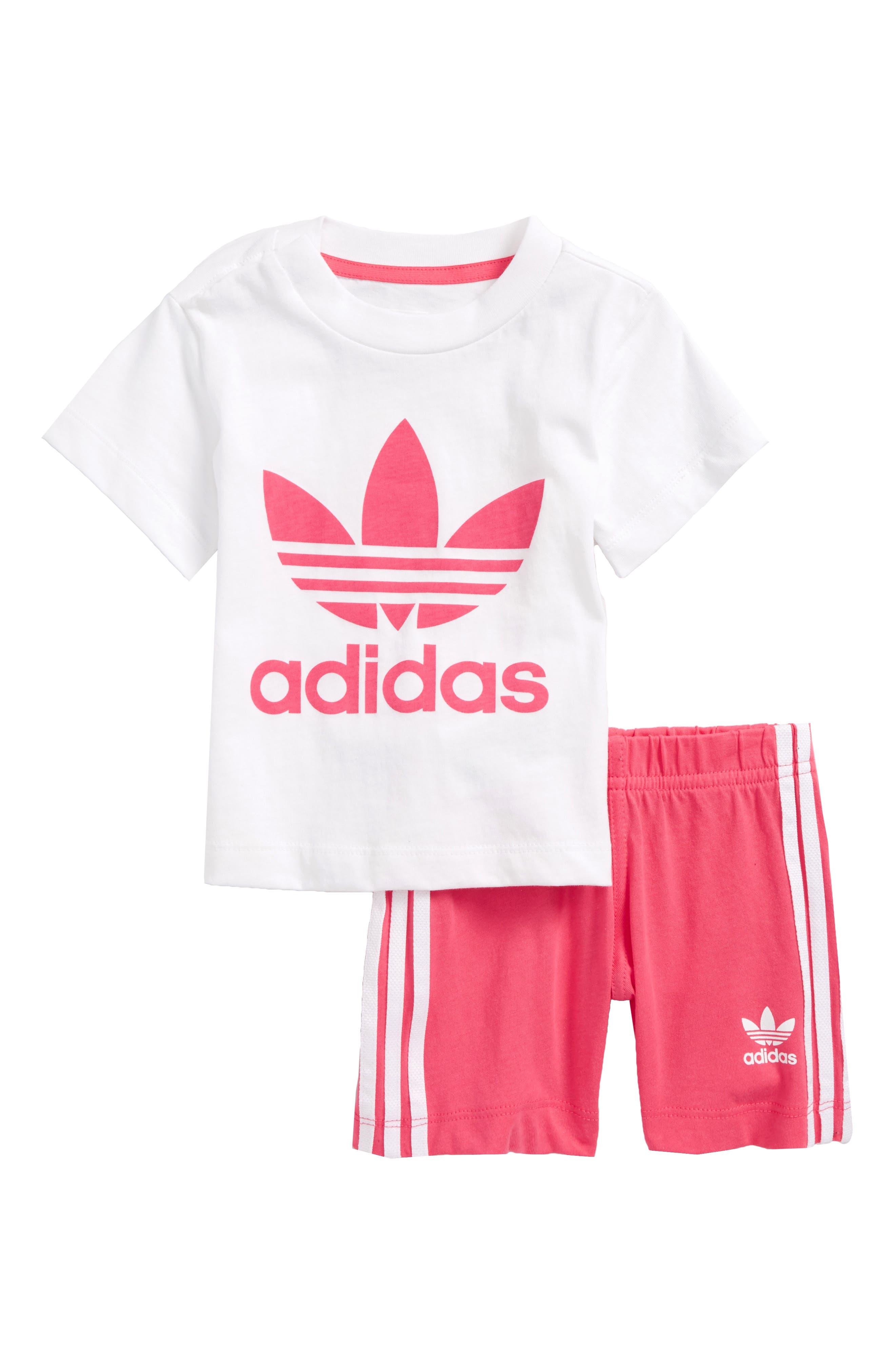 Originals Graphic Tee & Shorts Set,                         Main,                         color, White / Real Pink
