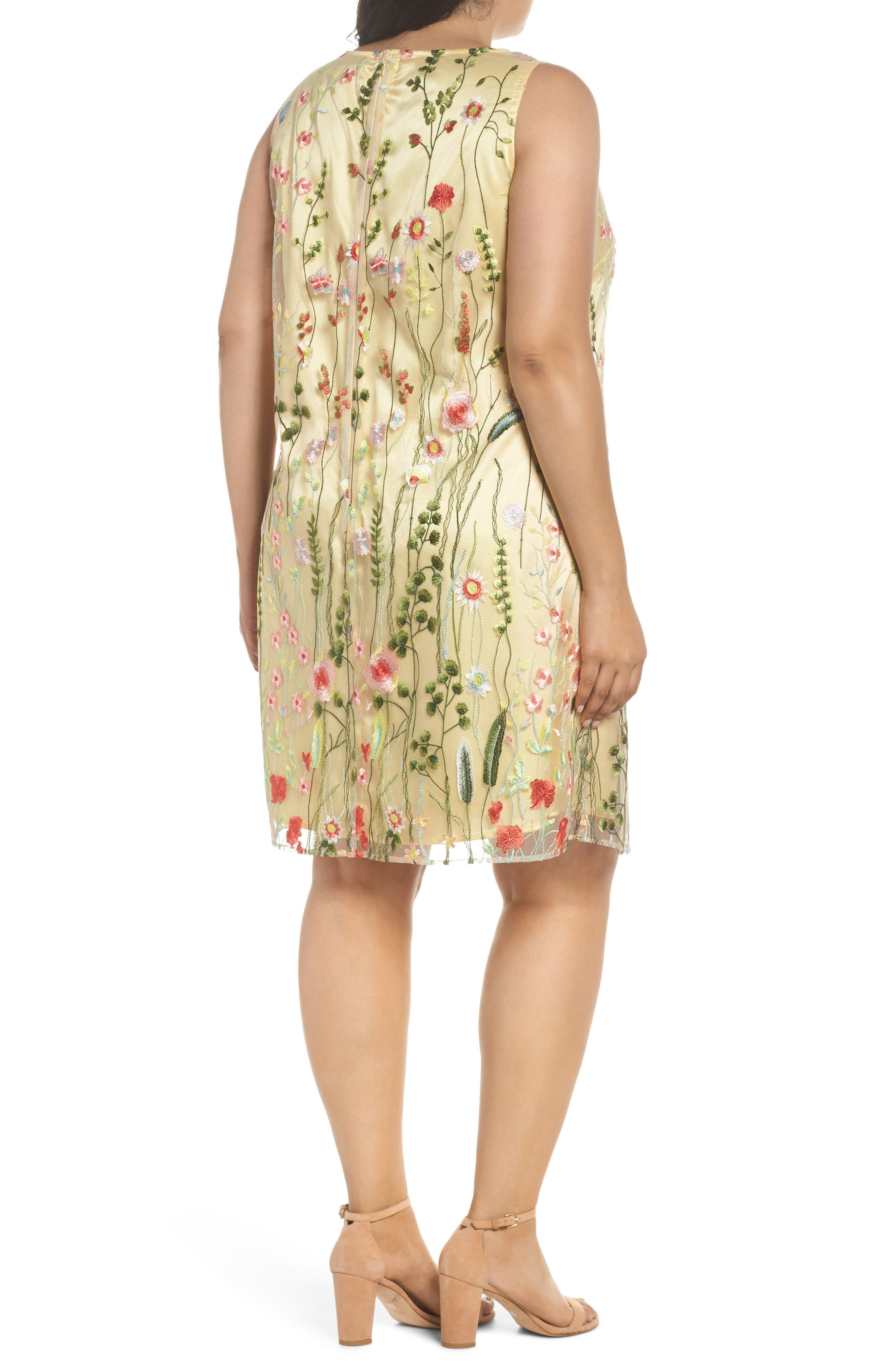 Floral Embroidered Shift Dress,                             Alternate thumbnail 2, color,                             Gold/ Blush/ Green