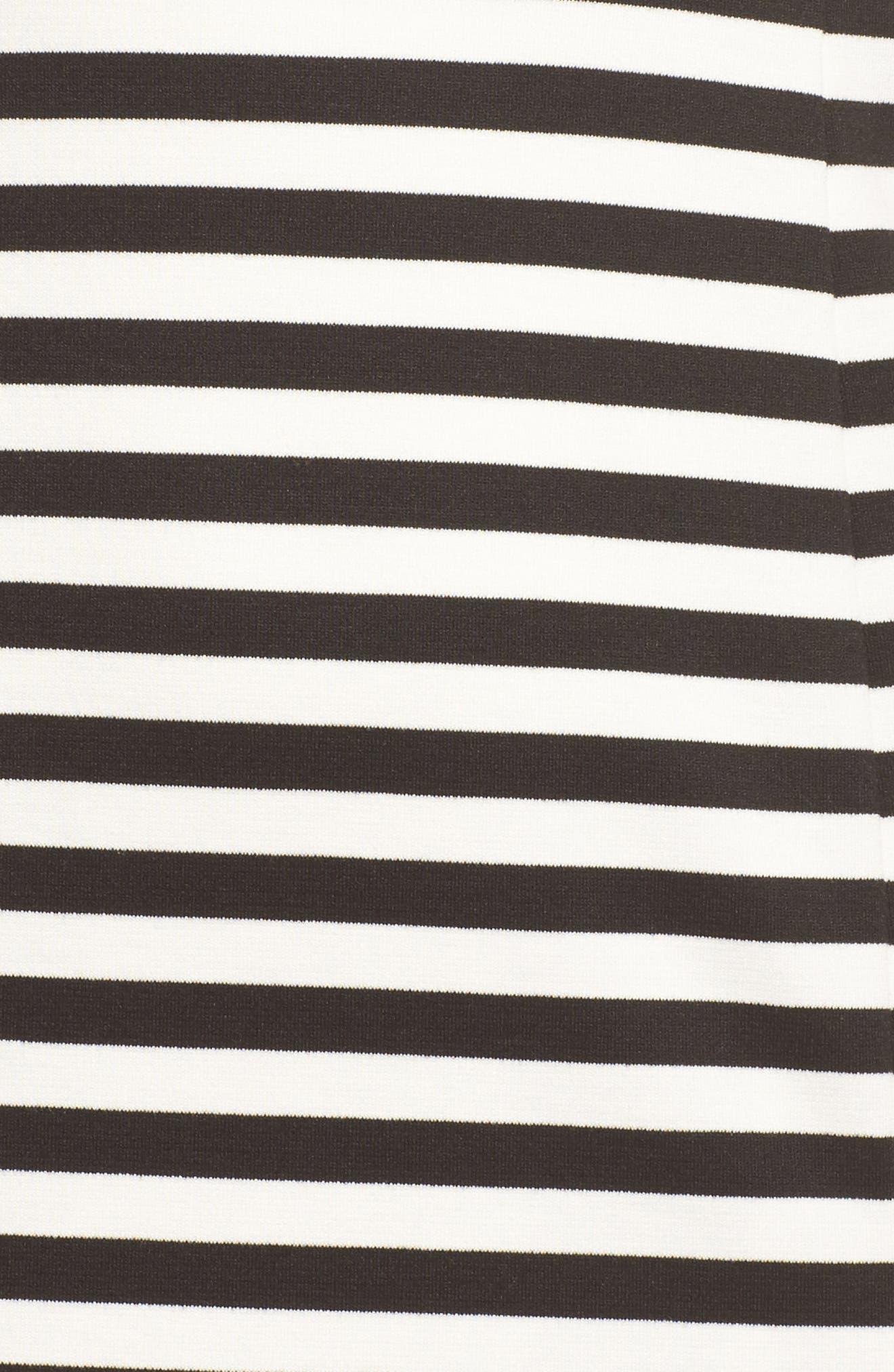 Stripe Scuba Crepe Fit & Flare Dress,                             Alternate thumbnail 5, color,                             Black/ Ivory