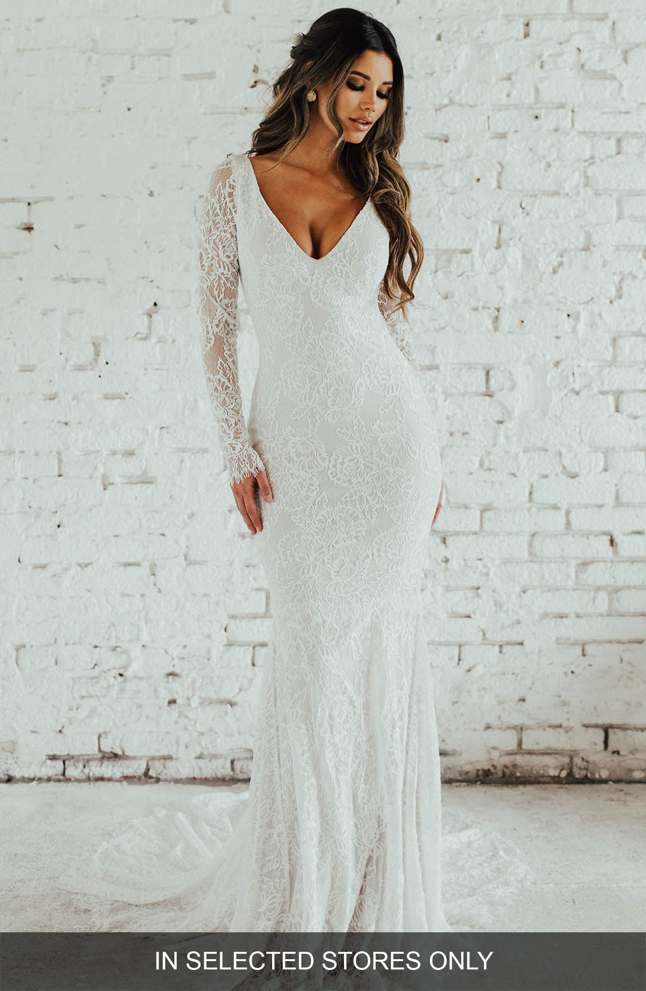San Sebastian Lace Mermaid Gown,                             Main thumbnail 1, color,                             Ivory/ Nude