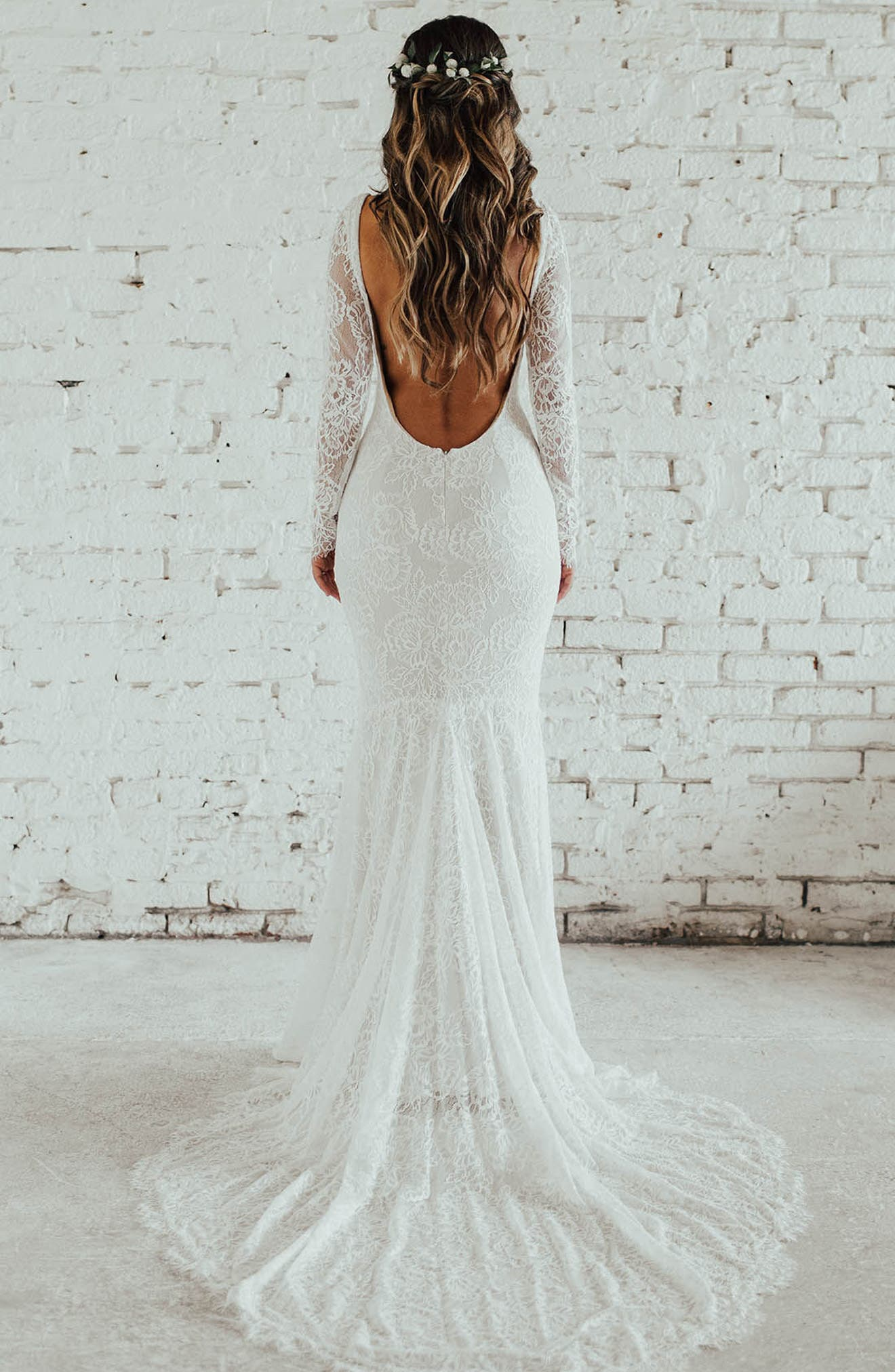 San Sebastian Lace Mermaid Gown,                             Alternate thumbnail 2, color,                             Ivory/ Nude