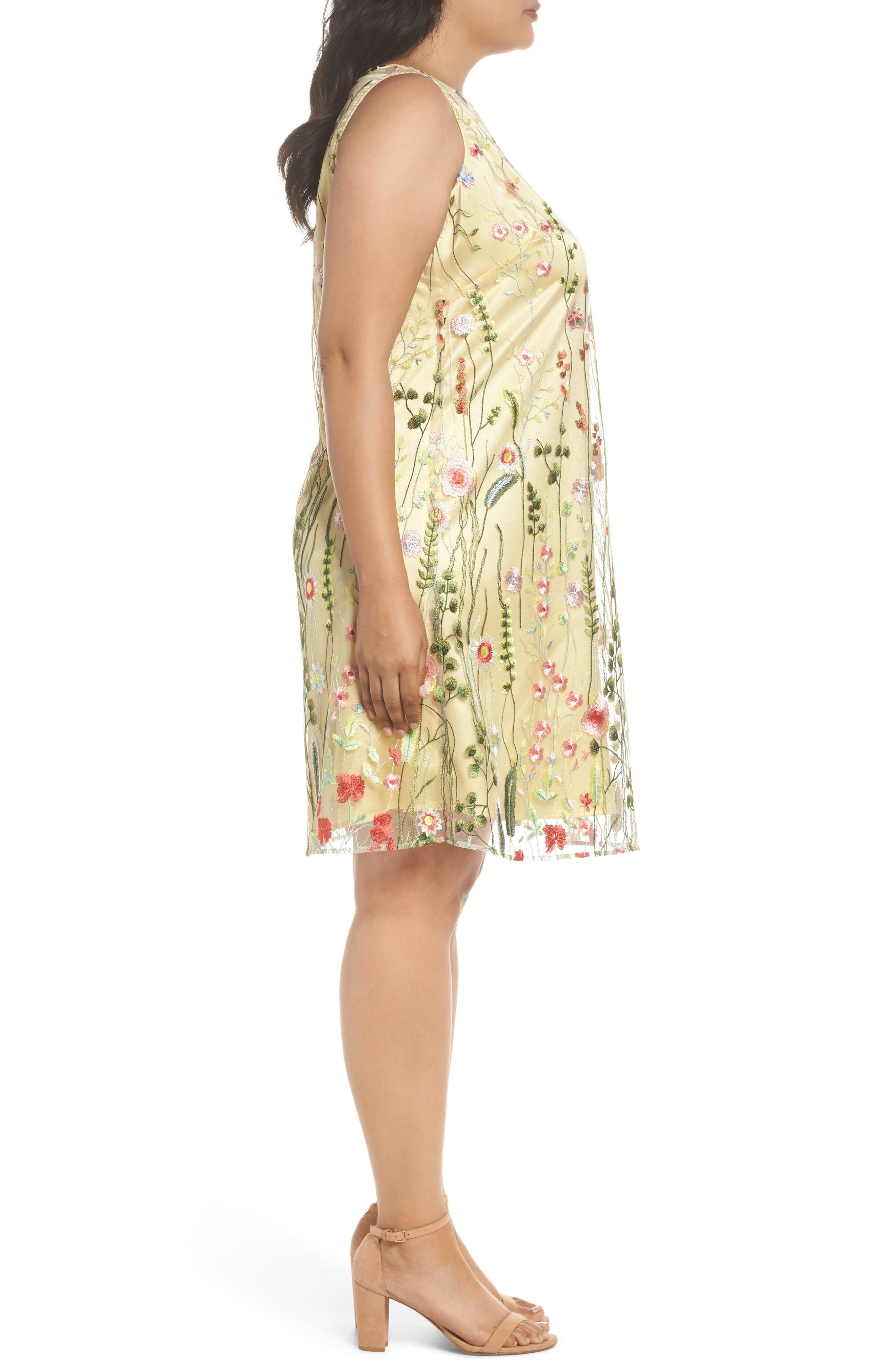 Floral Embroidered Shift Dress,                             Alternate thumbnail 3, color,                             Gold/ Blush/ Green