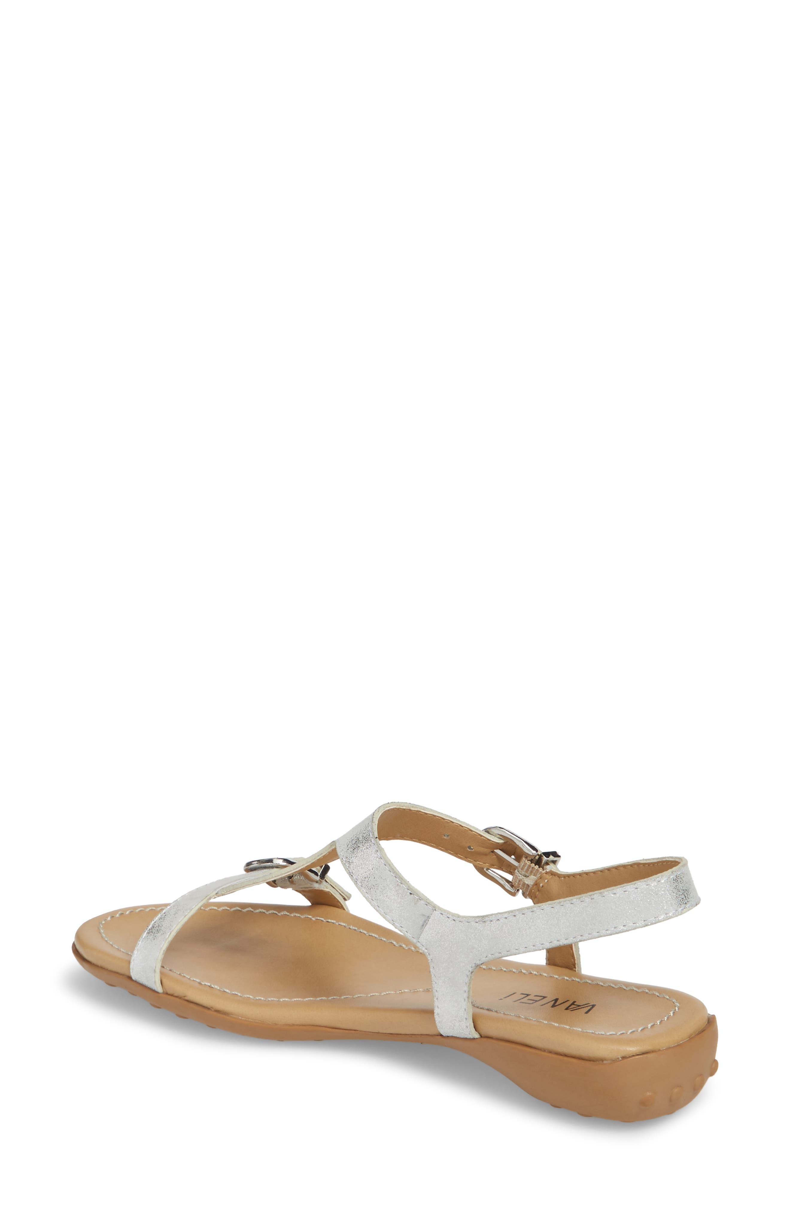 Taletha T-Strap Sandal,                             Alternate thumbnail 2, color,                             Silver Printed Suede