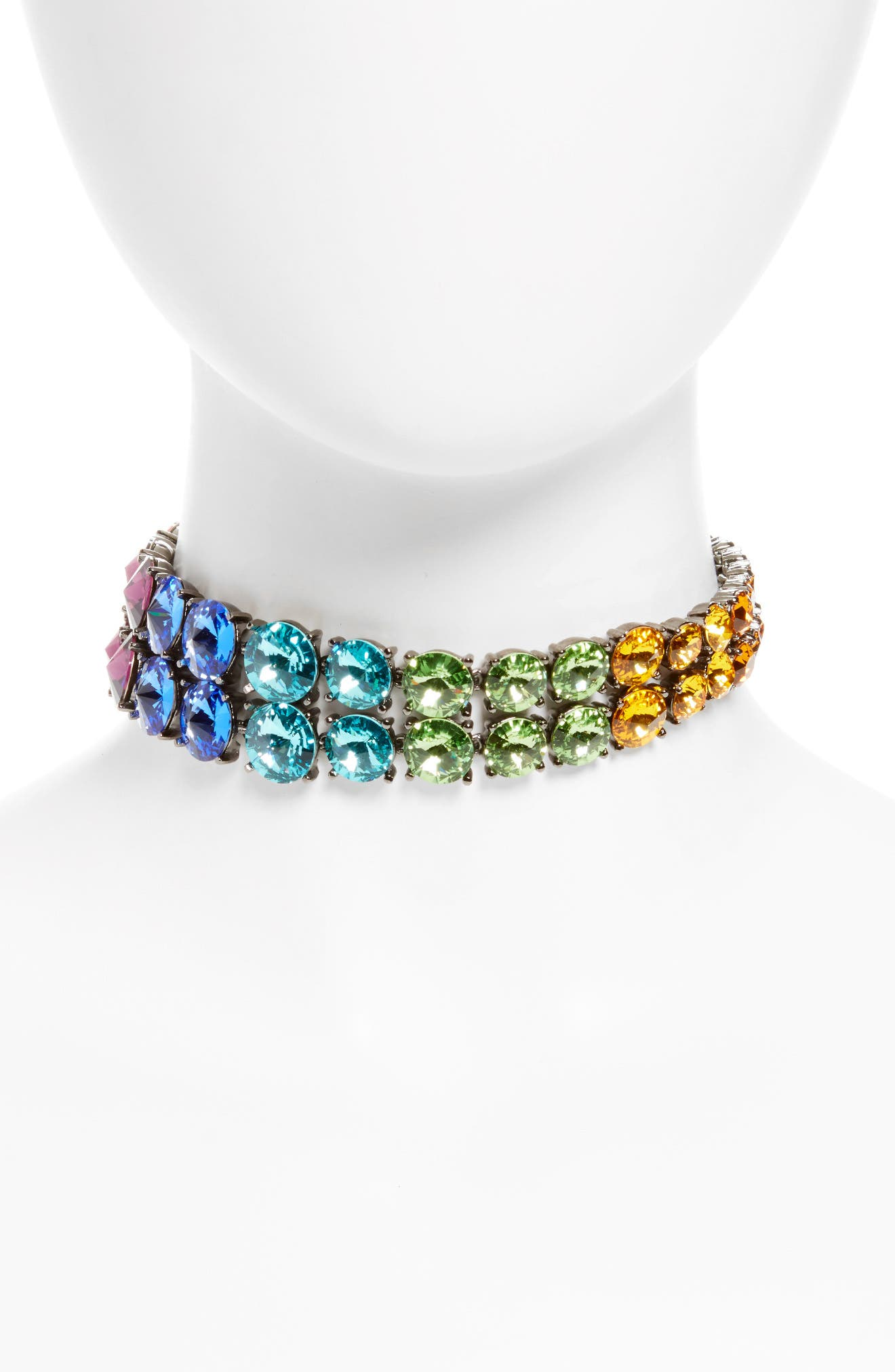 Rainbow Crystal Choker Necklace,                         Main,                         color, Red Multi