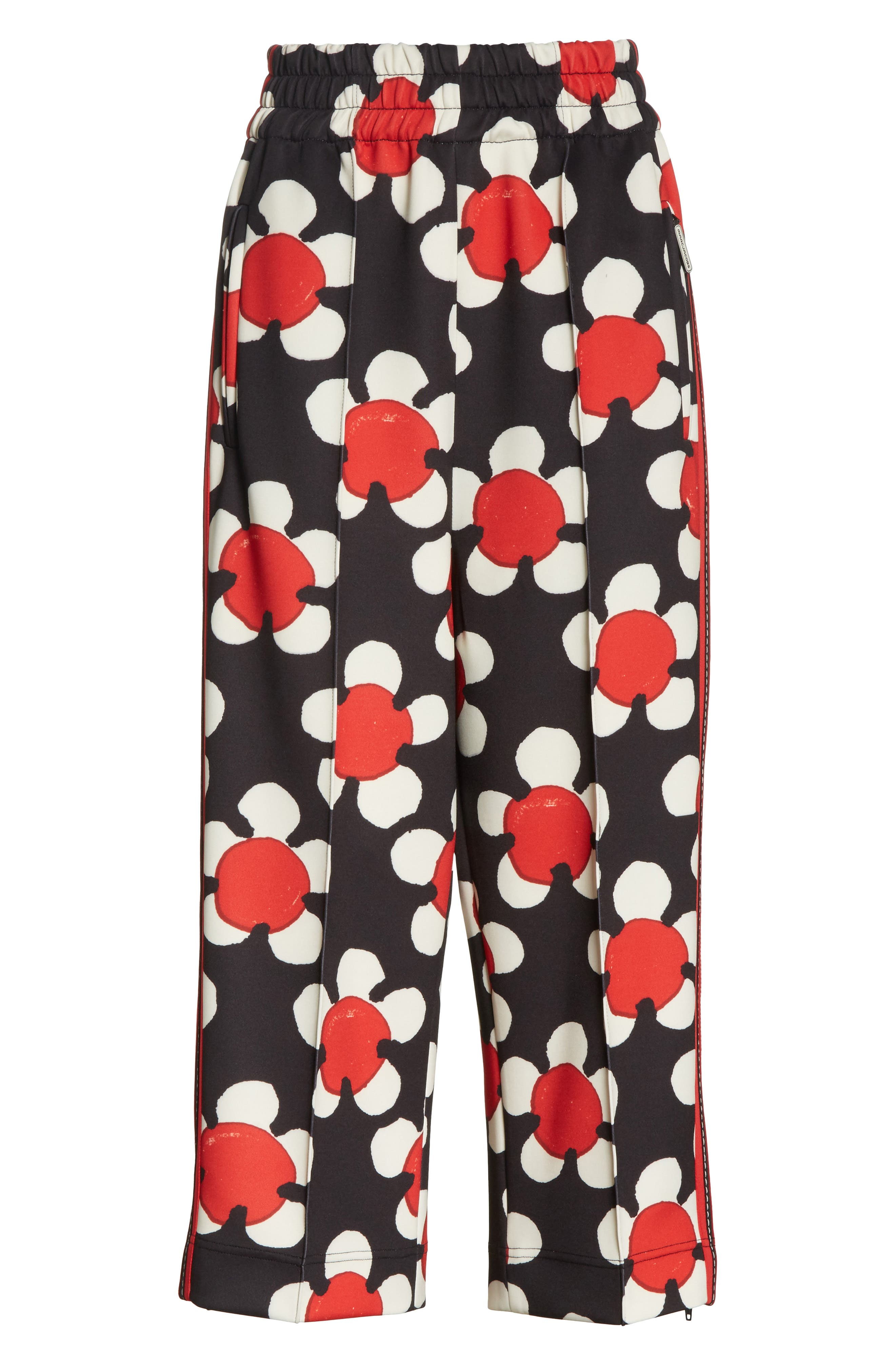 Floral Print Crop Track Pants,                             Alternate thumbnail 7, color,                             Red Multi