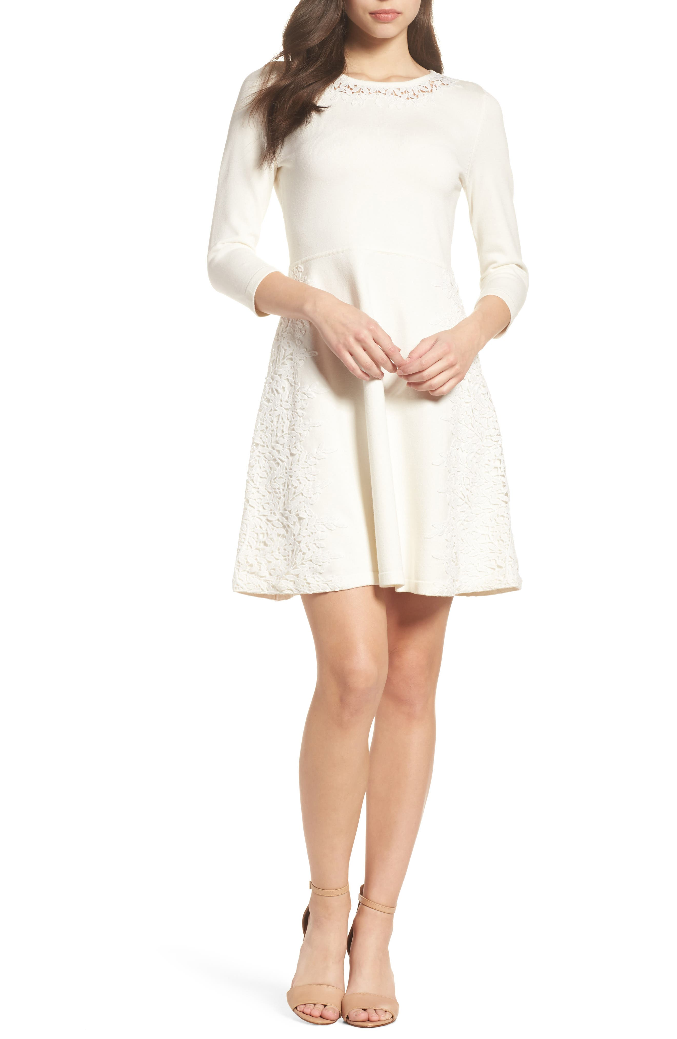 Lace Overlay Sweater Dress,                             Main thumbnail 1, color,                             Ivory
