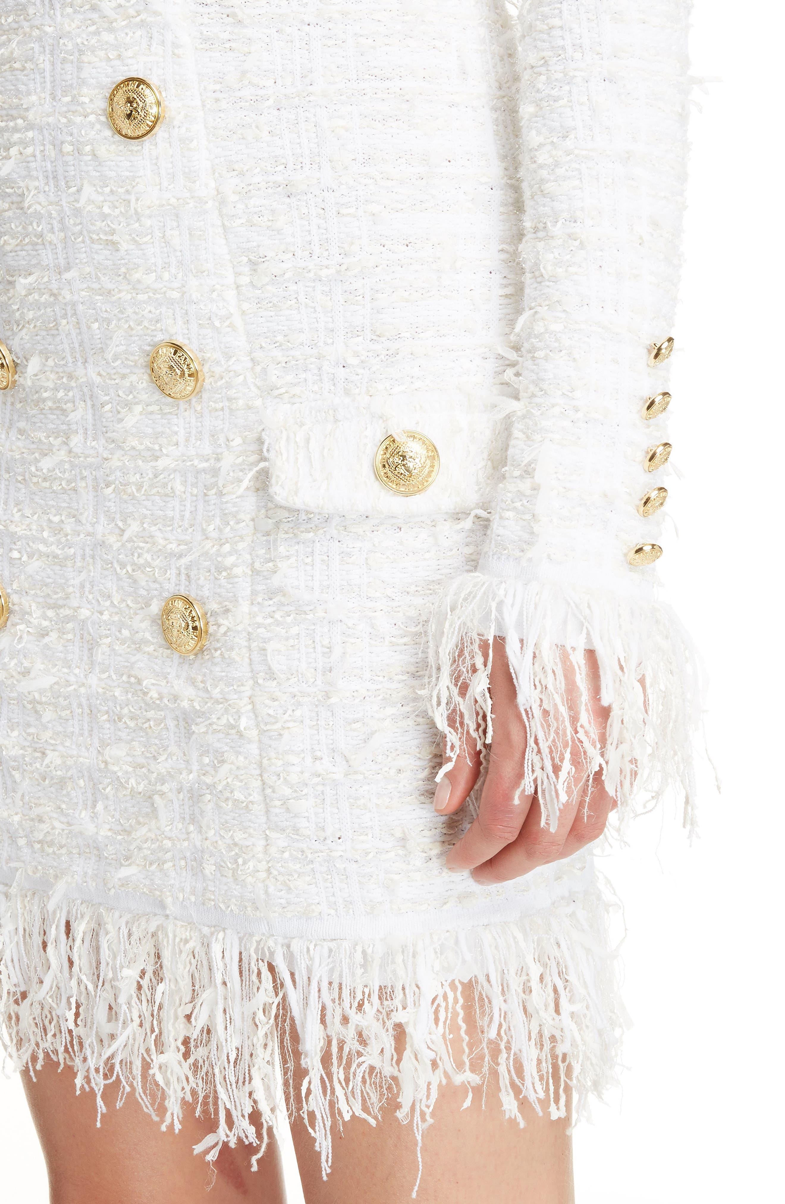 Fringe Tweed Dress,                             Alternate thumbnail 4, color,                             White