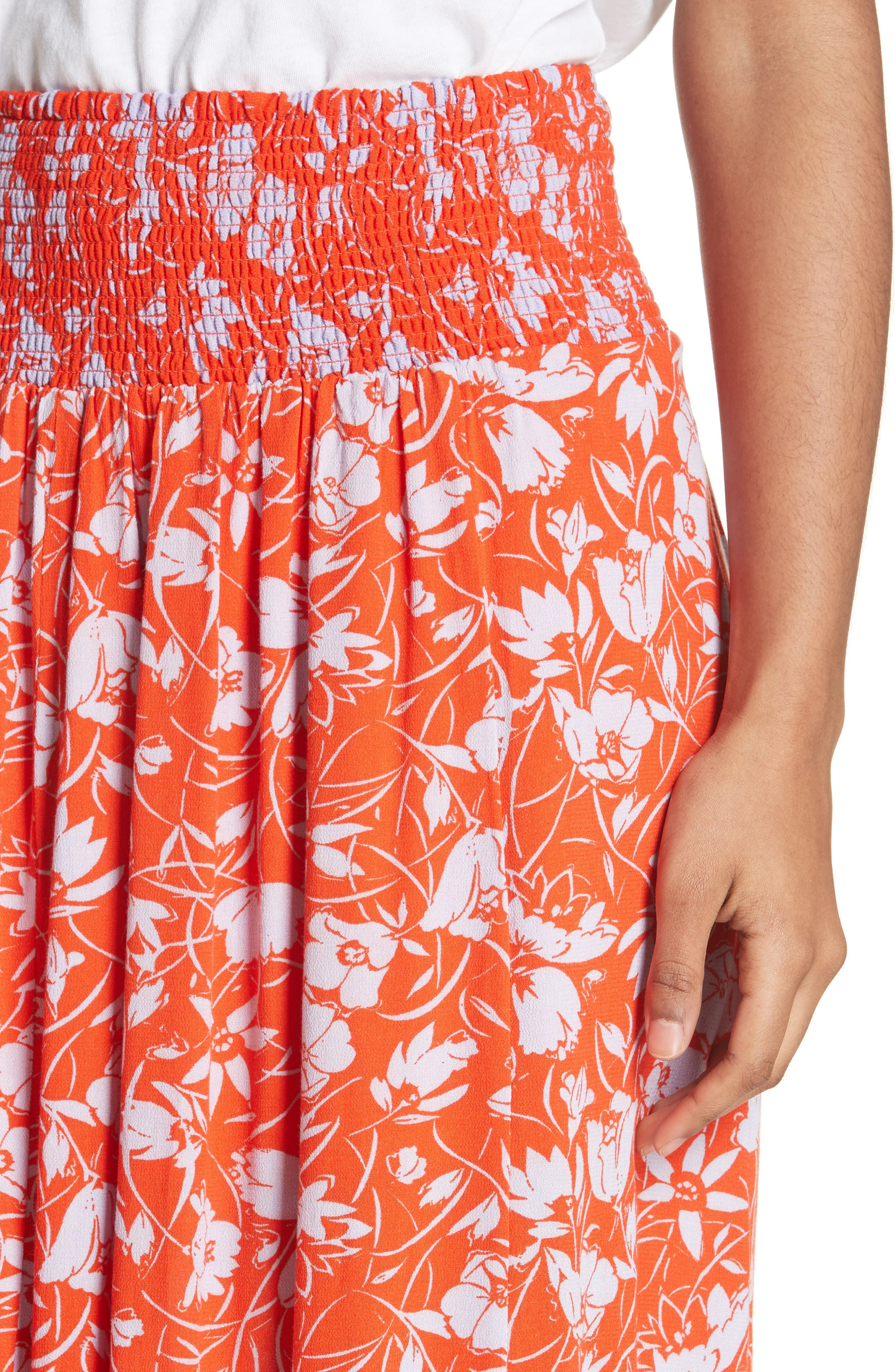 Way of the Wind Print Maxi Skirt,                             Alternate thumbnail 4, color,                             Red