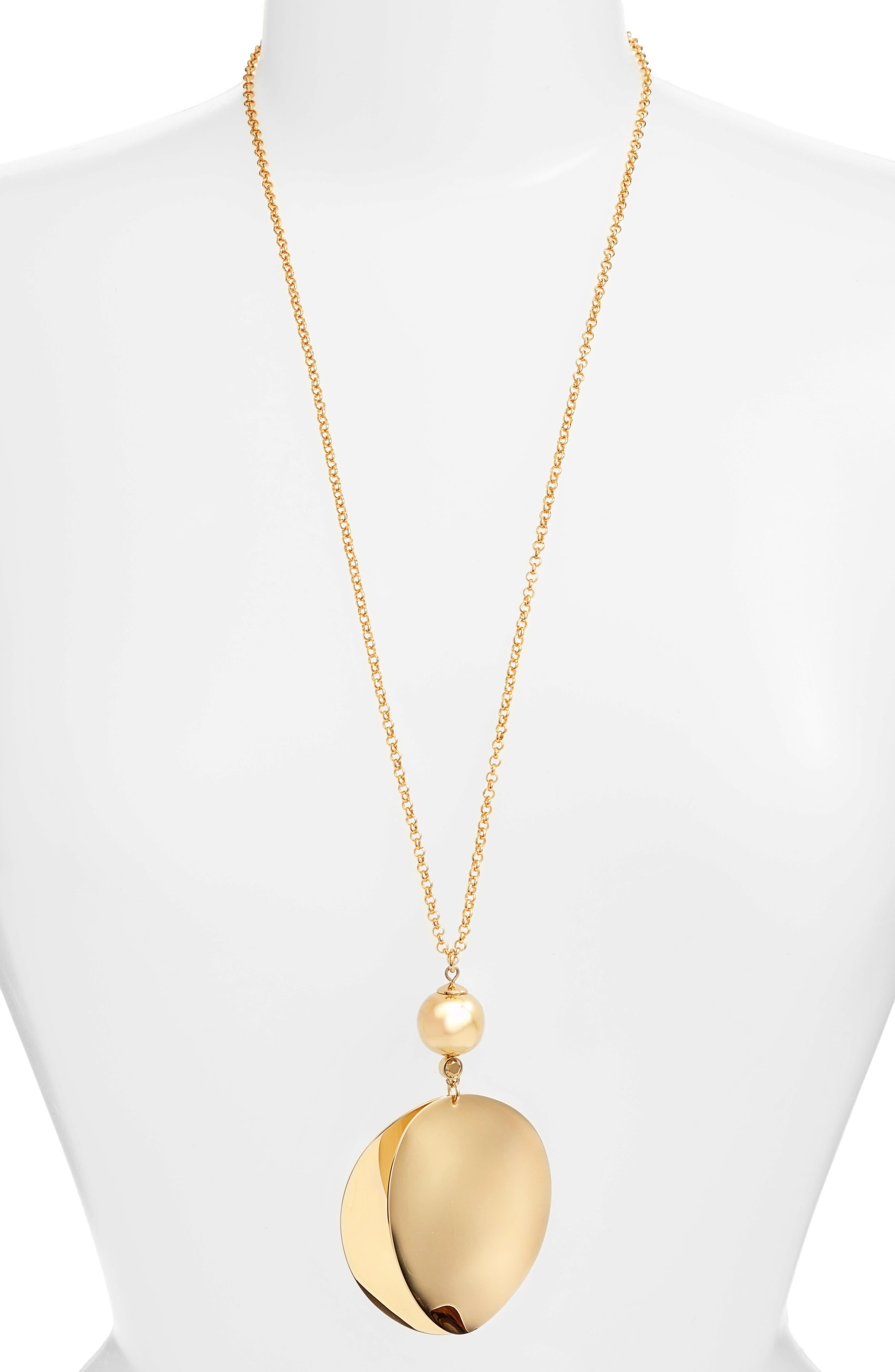 gold standard pendant necklace,                             Main thumbnail 1, color,                             Gold