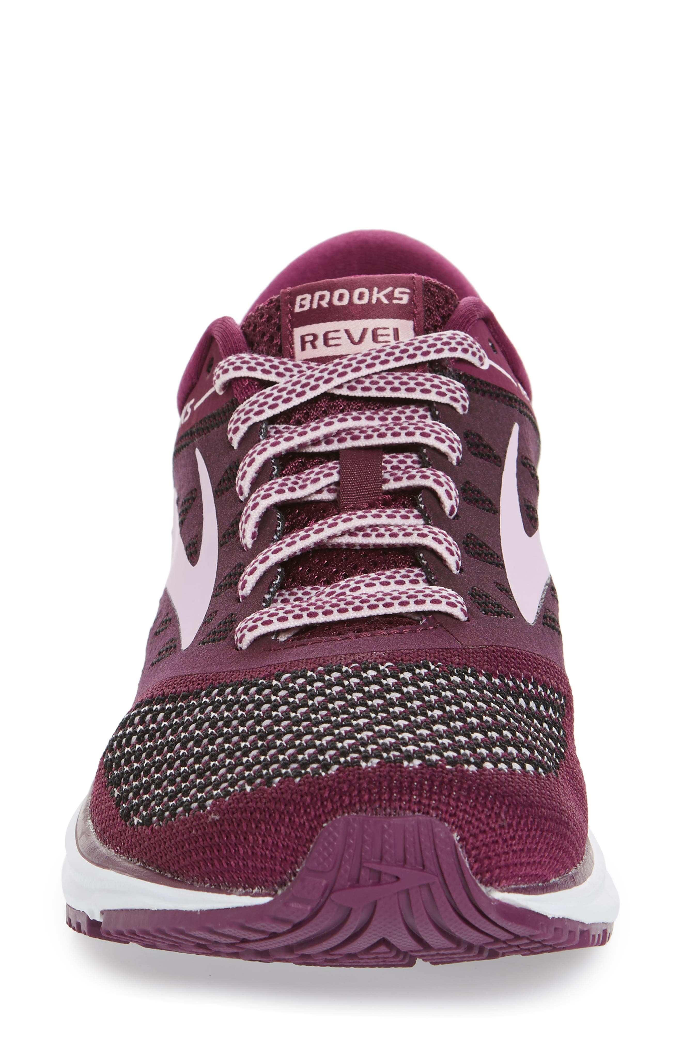 Revel Running Shoe,                             Alternate thumbnail 4, color,                             Plum/ Pink/ Black
