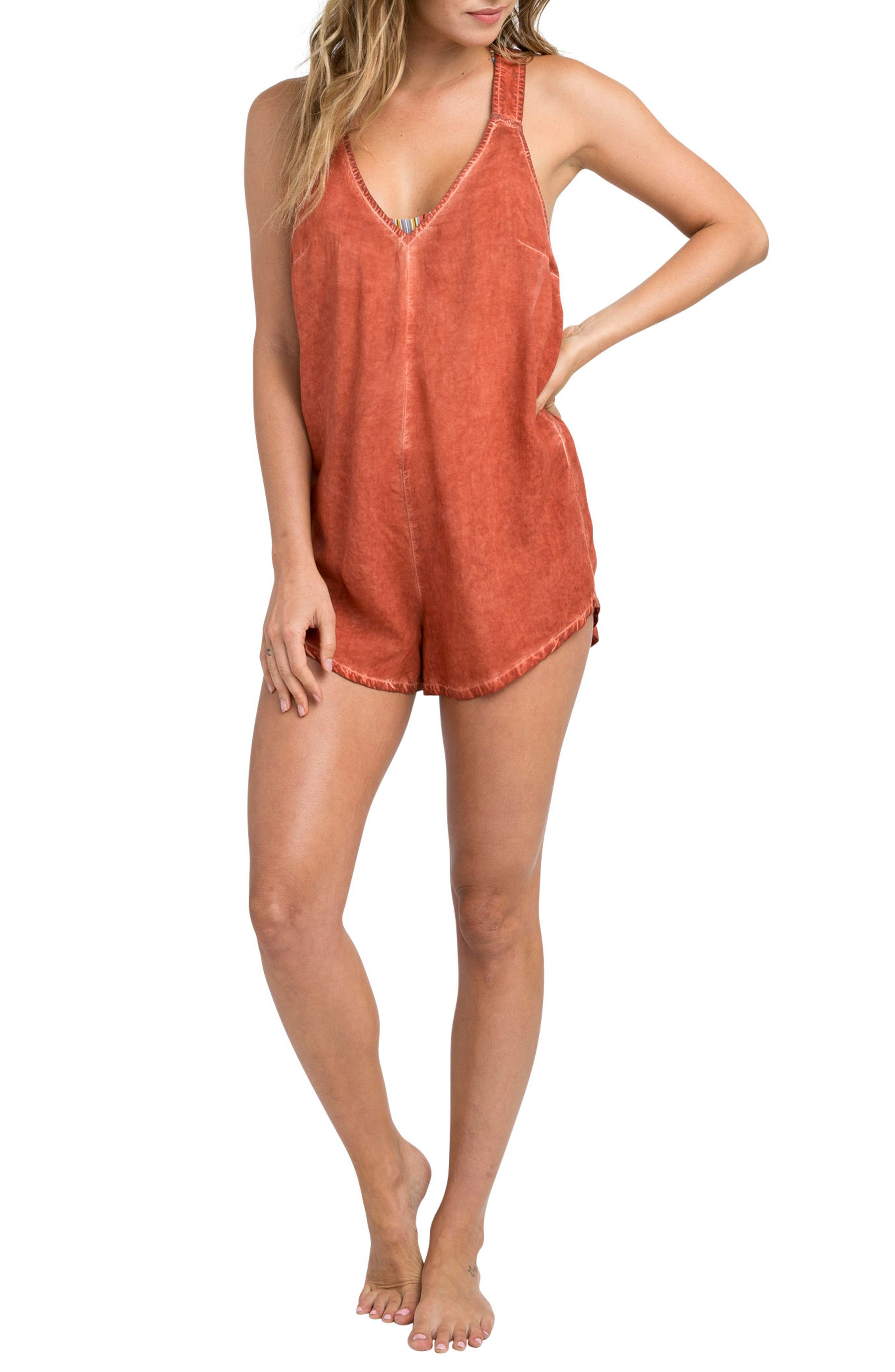Itemized Romper,                         Main,                         color, Red Clay