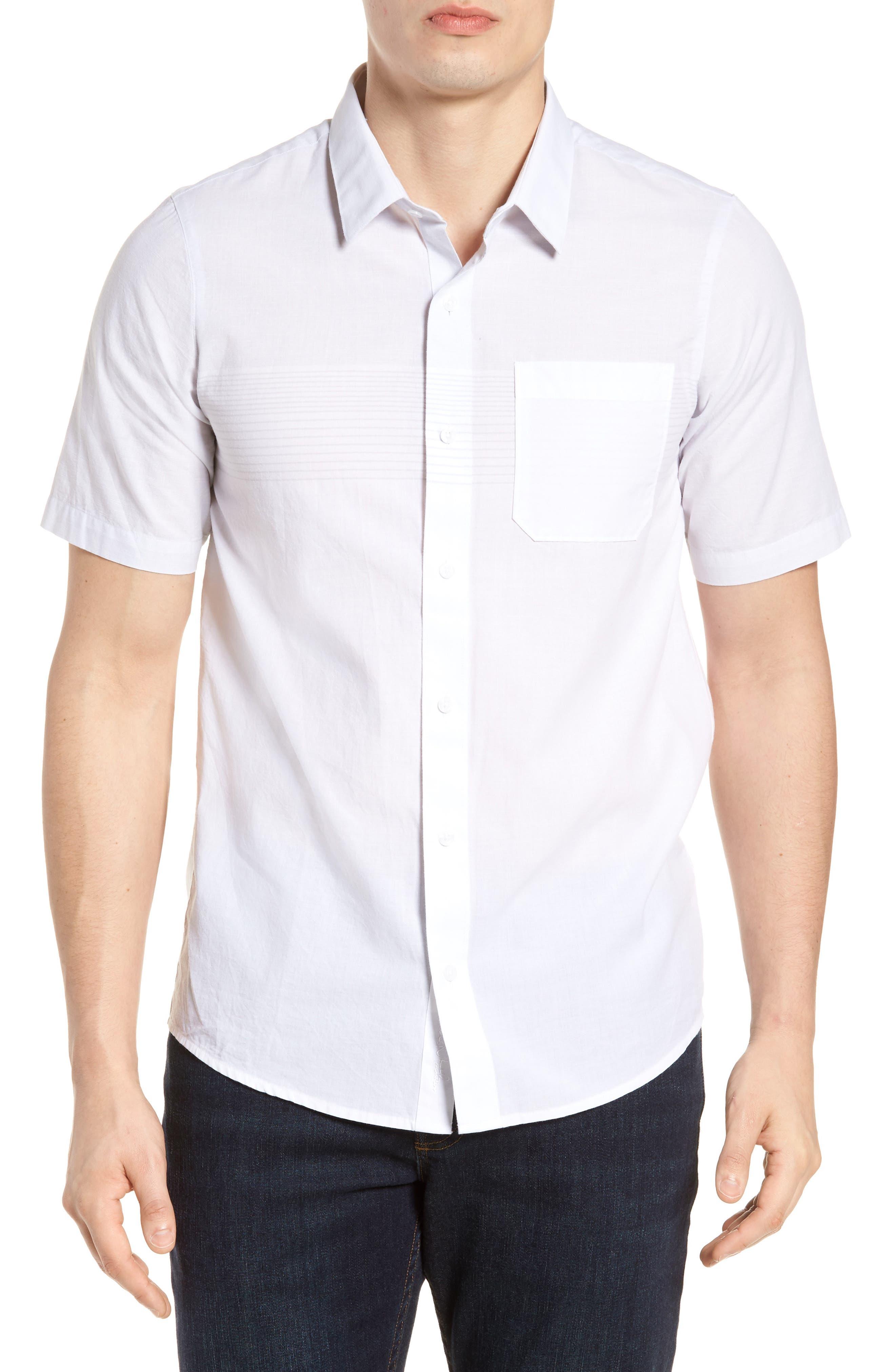 Charlie Pinstripe Woven Shirt,                         Main,                         color, White