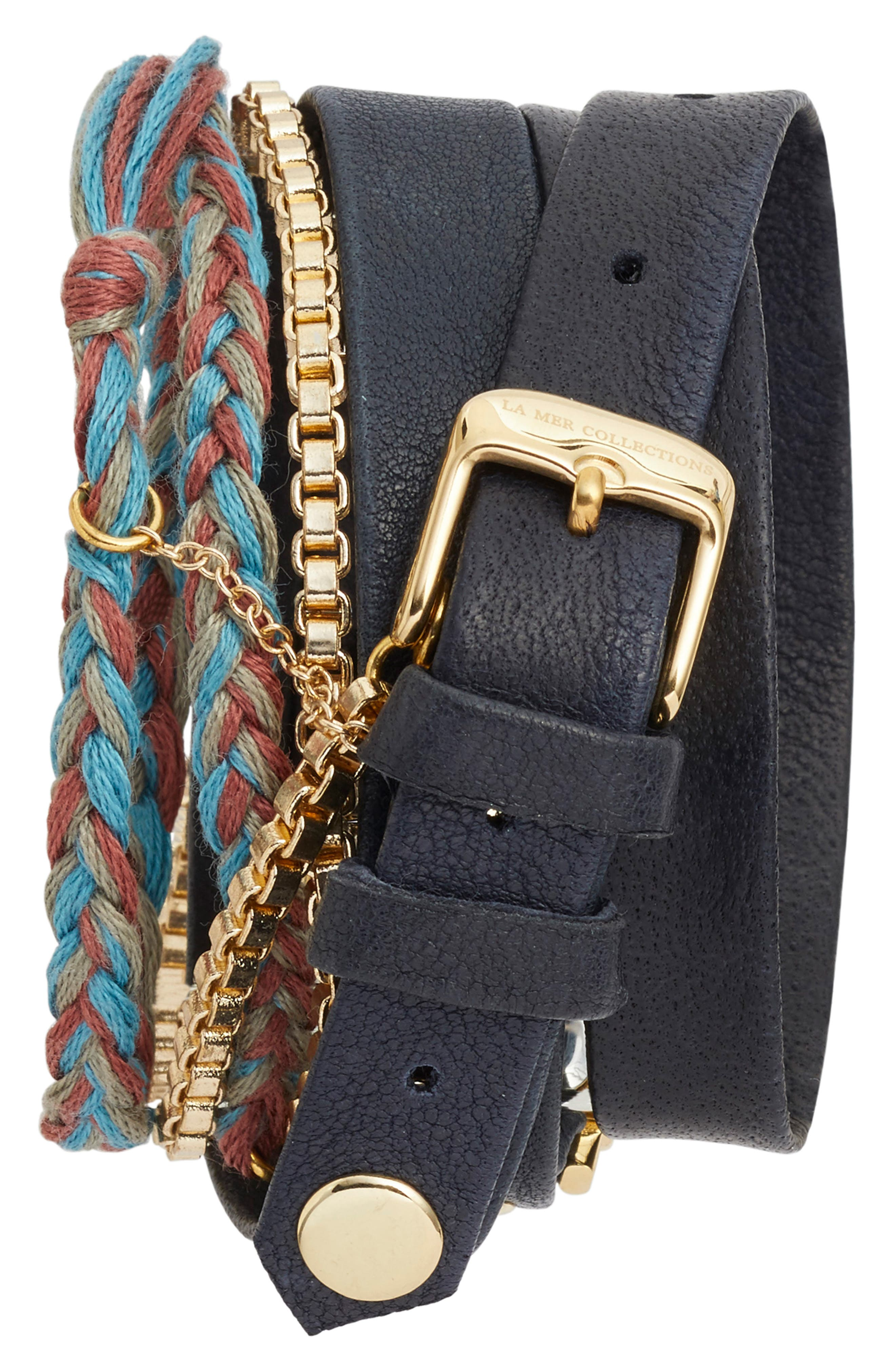 Brunello Leather & Chain Wrap Watch, 25mm,                             Alternate thumbnail 3, color,                             Navy/ White/ Gold