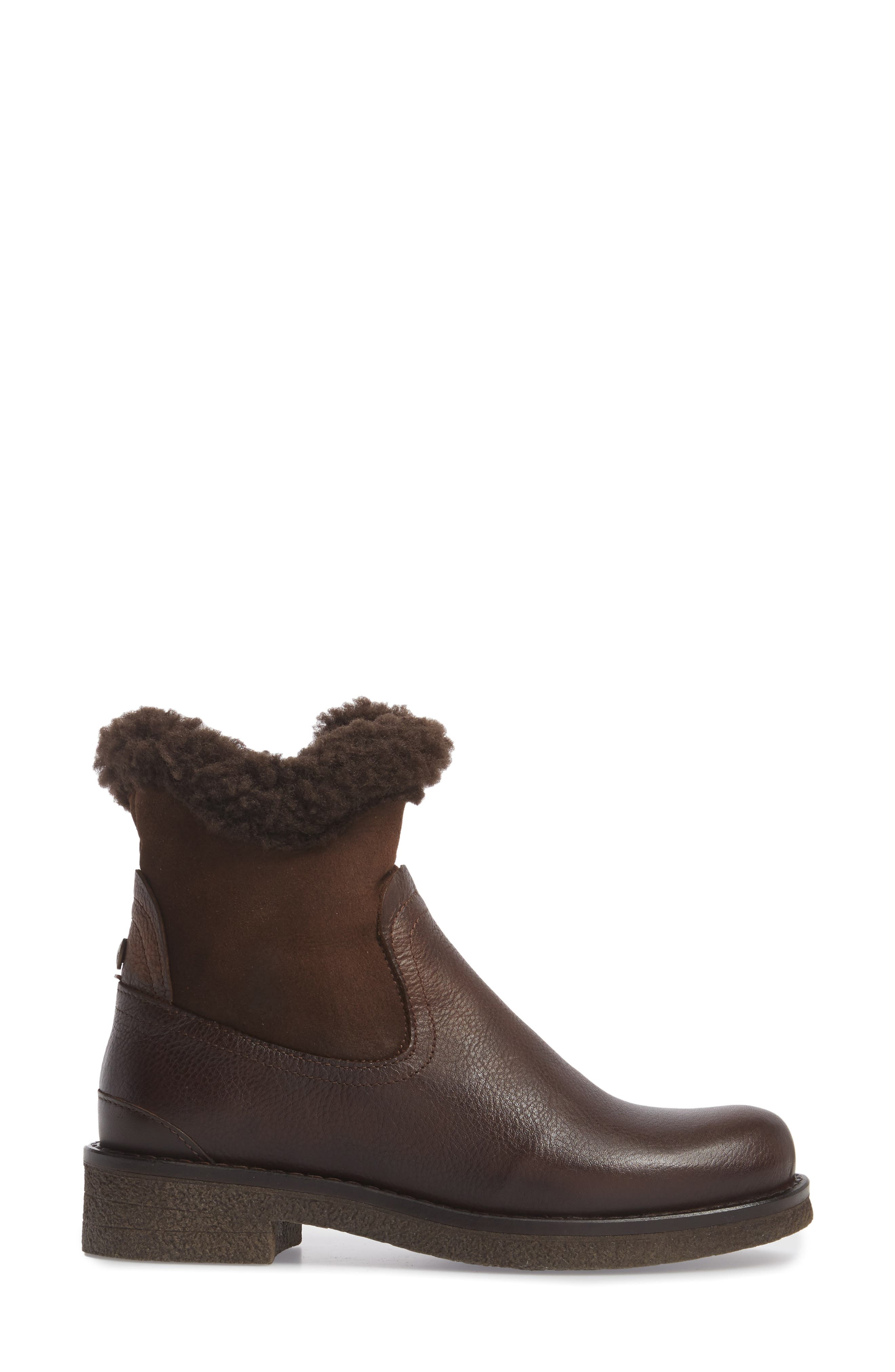 Odessa Waterproof Insulated Snow Boot,                             Alternate thumbnail 3, color,                             Brown Fur Leather