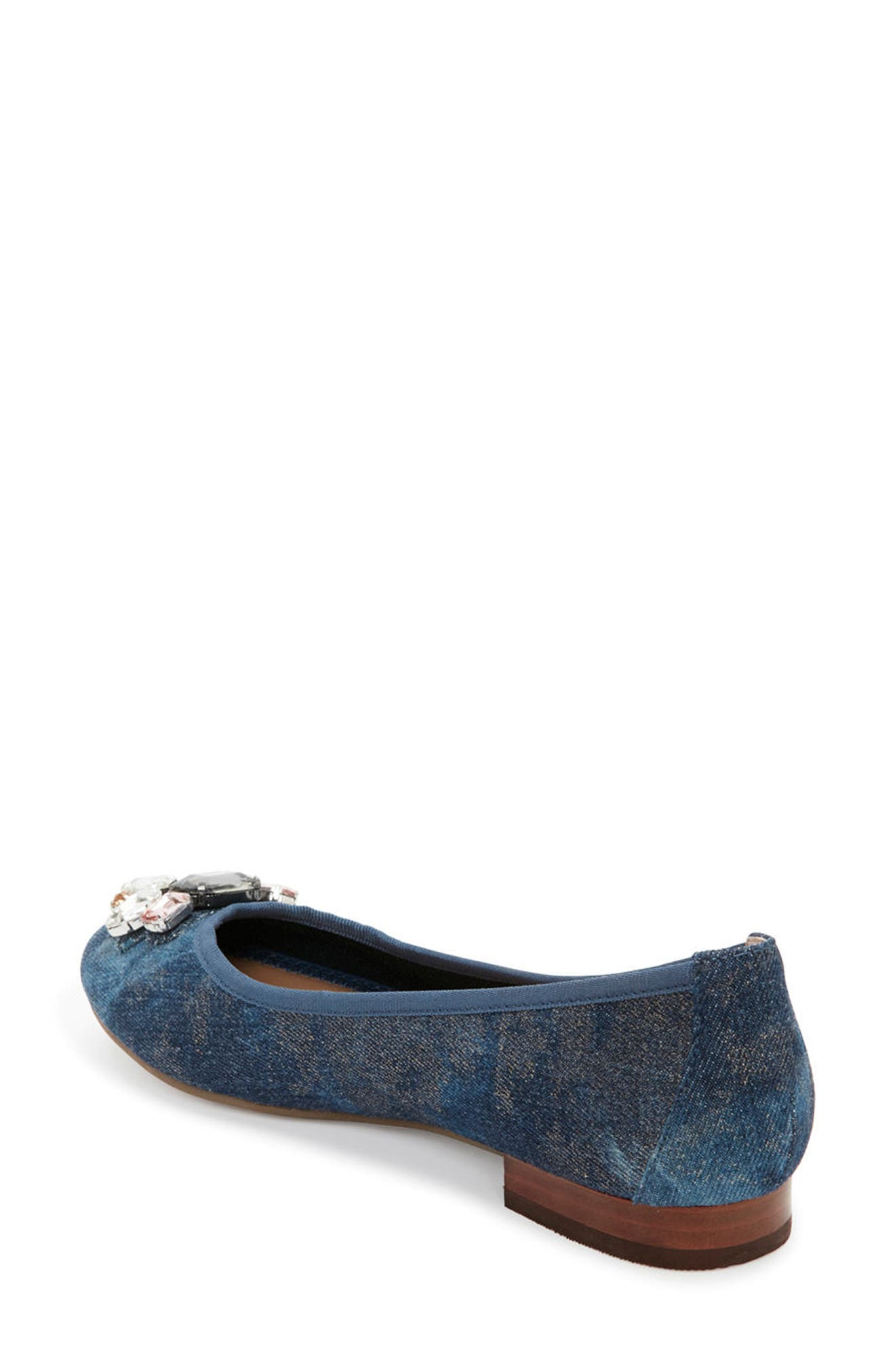 Sapphire Crystal Embellished Flat,                             Alternate thumbnail 2, color,                             Blue Champagne Denim Fabric