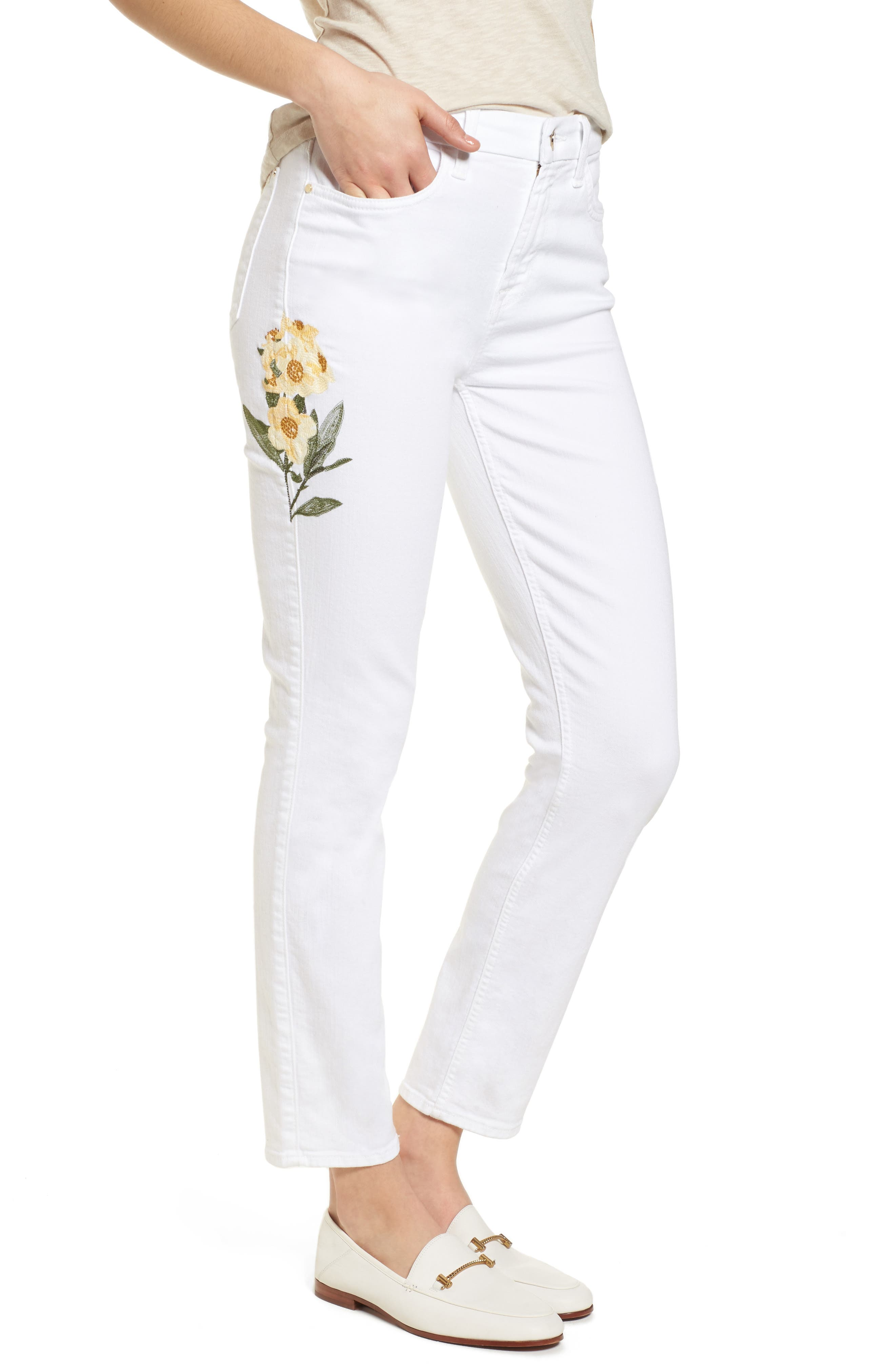 Embroidered Ankle Skinny Jeans,                         Main,                         color, White M