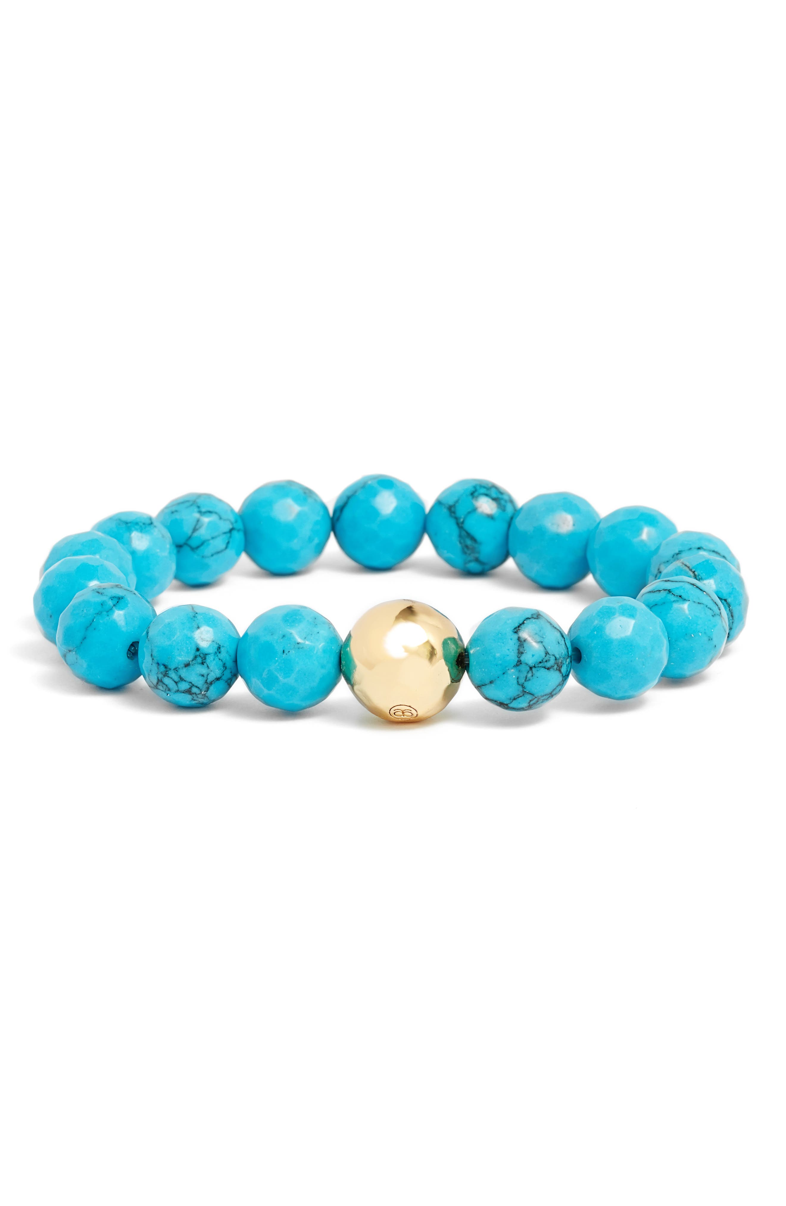 Power Gemstone Turquoise for Healing Bracelet,                             Main thumbnail 1, color,                             Turquoise/ Gold