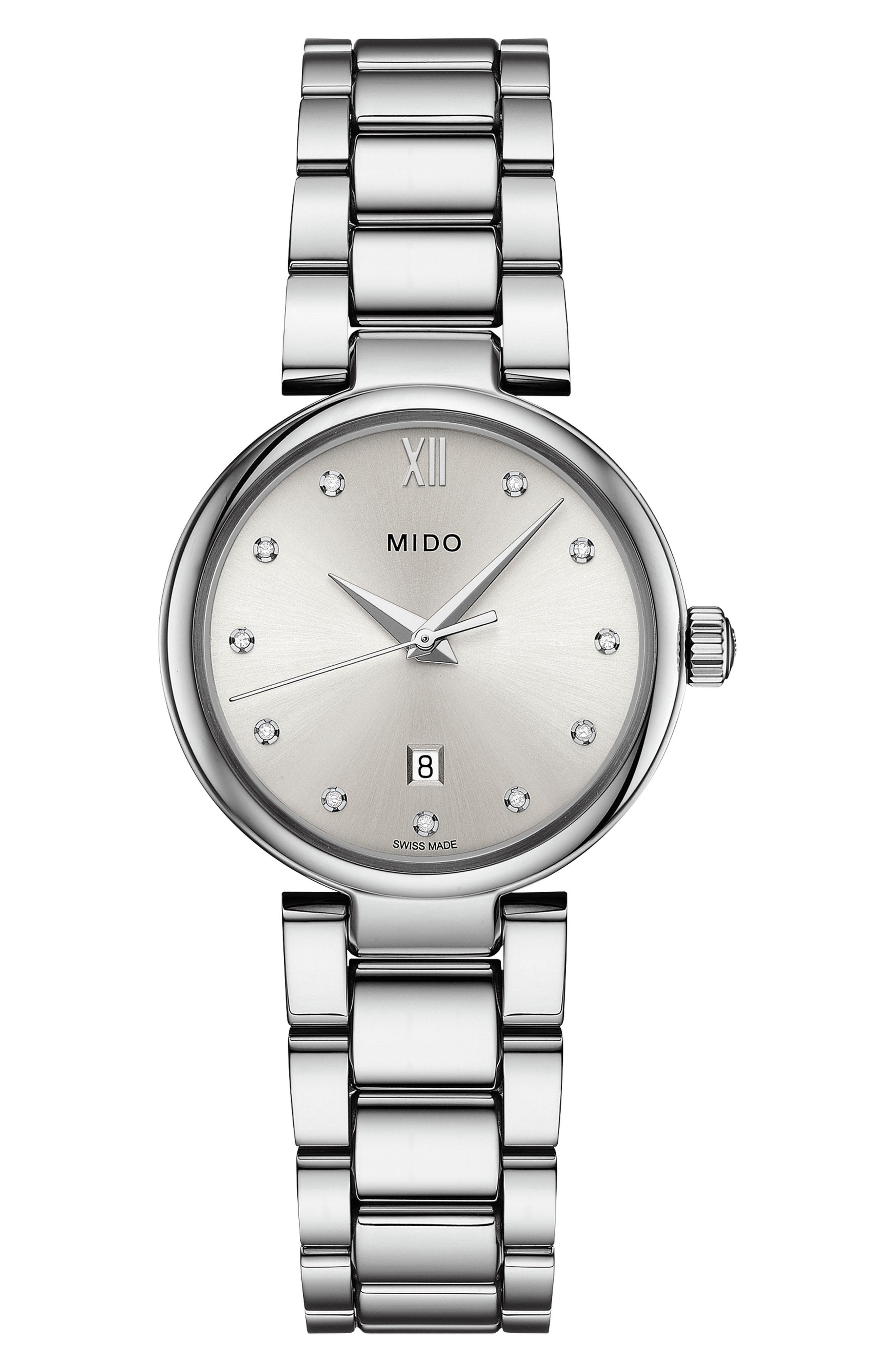 Baroncelli Diamond Bracelet Watch, 28mm,                             Main thumbnail 1, color,                             Silver/ Chrome/ Silver