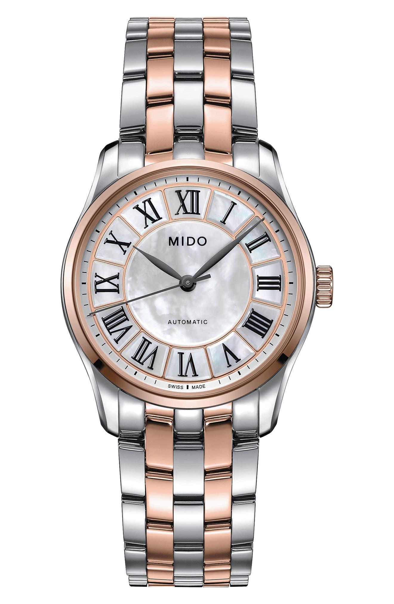 Belluna II Bracelet Watch, 33mm,                         Main,                         color, Silver/ Mop/ Rose Gold