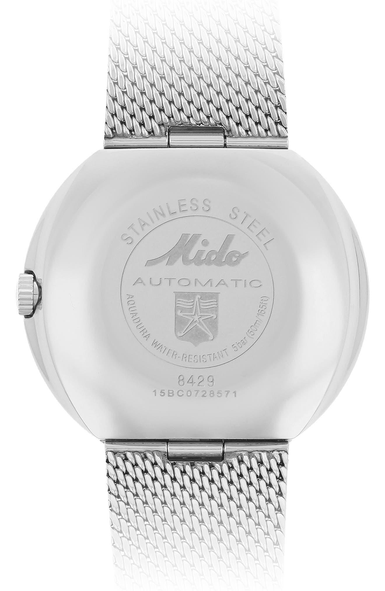 Alternate Image 3  - MIDO Commander Automatic Mesh Strap Watch, 37mm