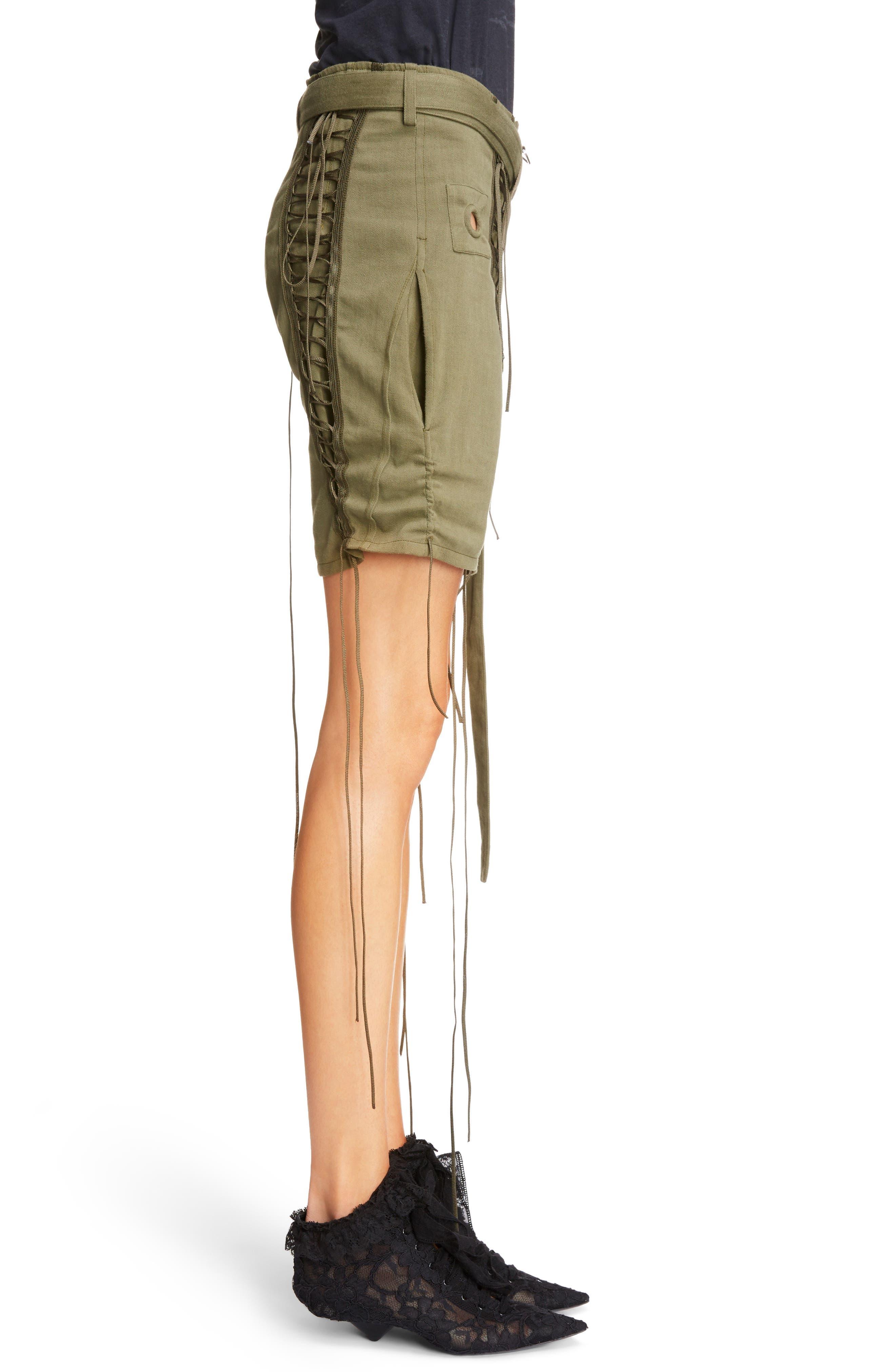 Laced Cotton & Linen Shorts,                             Alternate thumbnail 5, color,                             Kaki