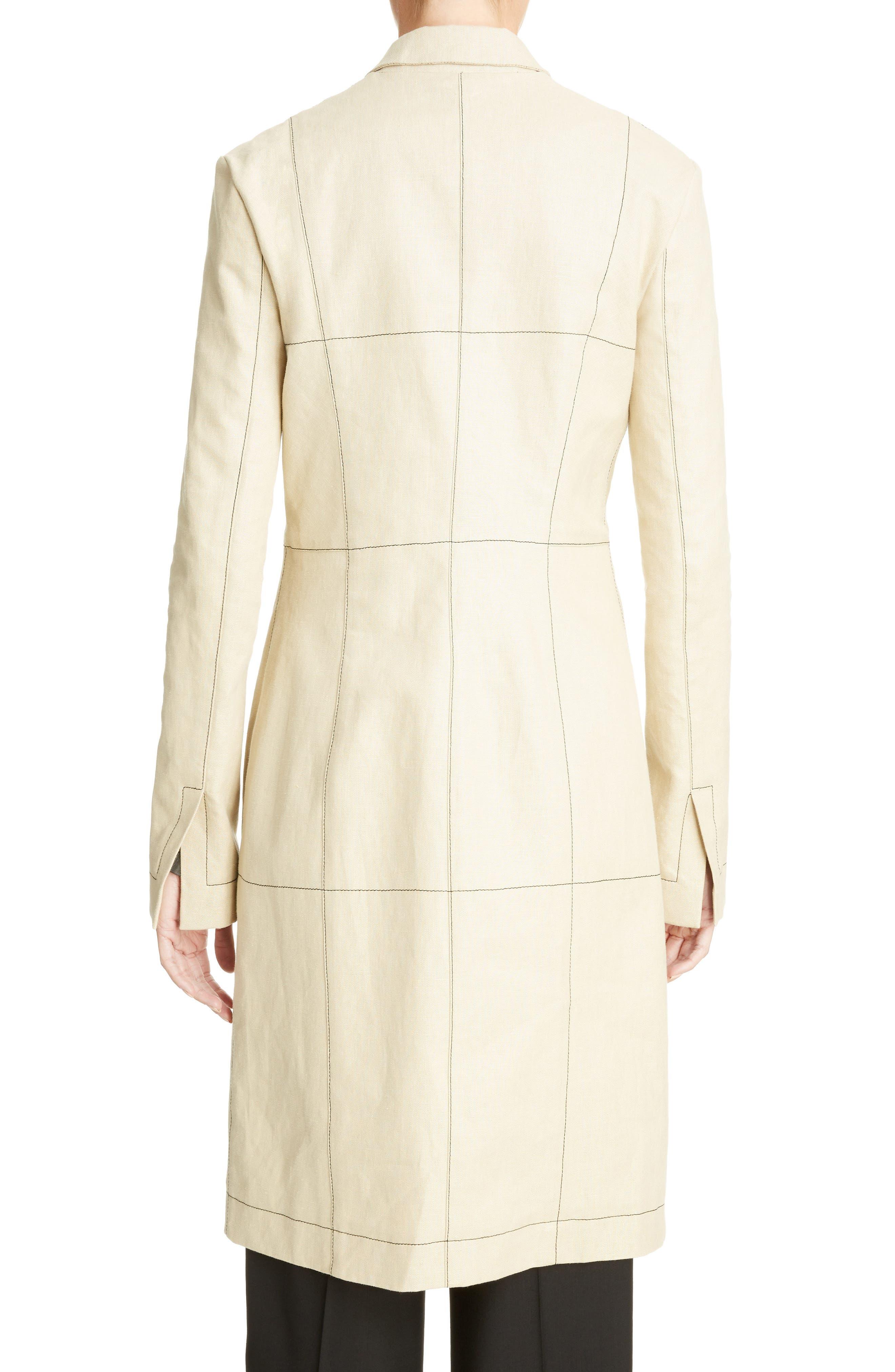 Topstitched Linen Coat,                             Alternate thumbnail 2, color,                             Beige