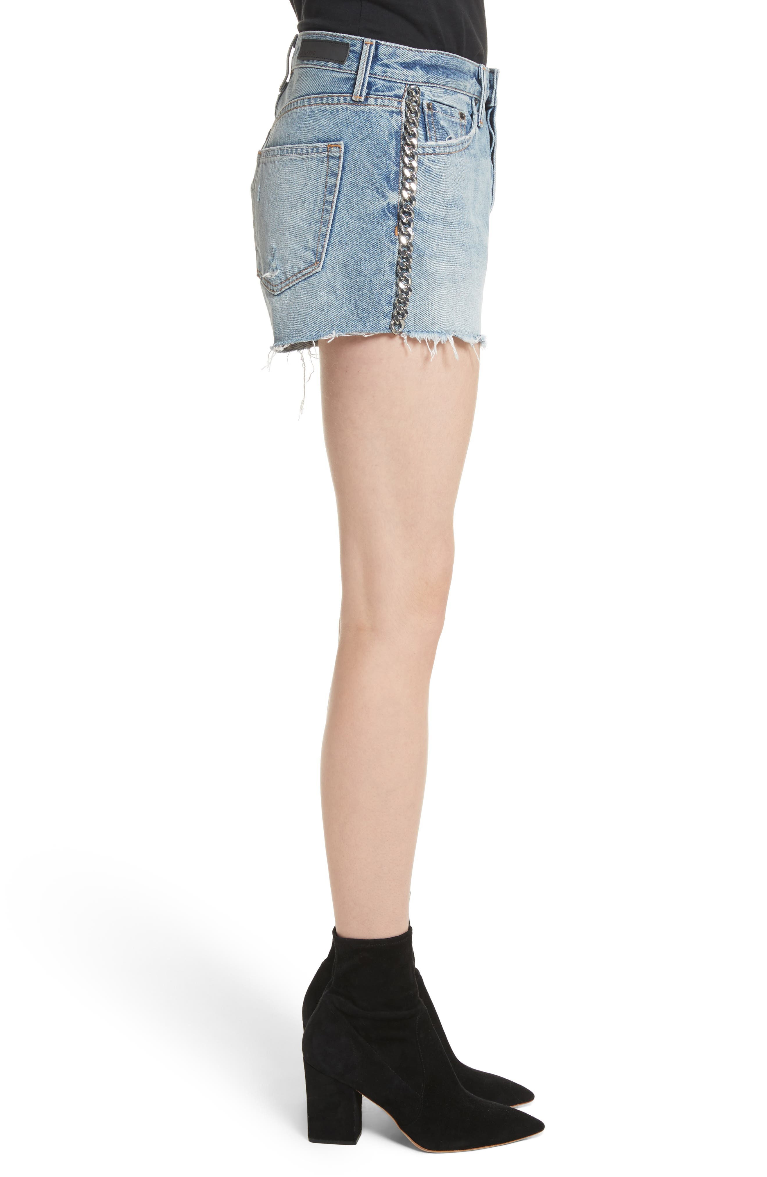 Cindy Rigid High Waist Denim Shorts,                             Alternate thumbnail 3, color,                             Cast Iron