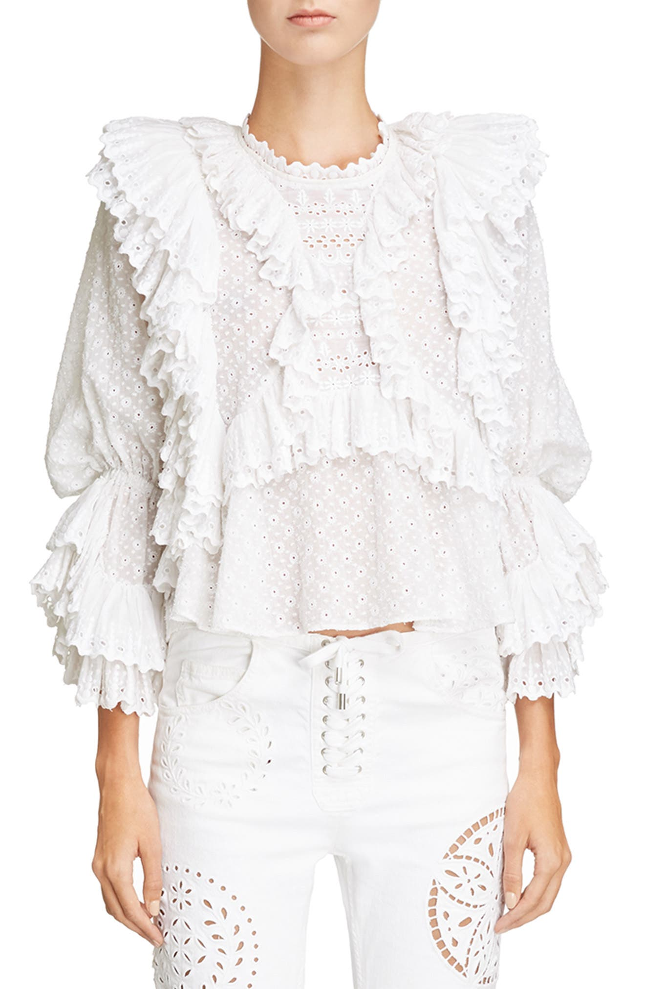 Ruffle Detail Broderie Anglaise Top,                             Main thumbnail 1, color,                             White