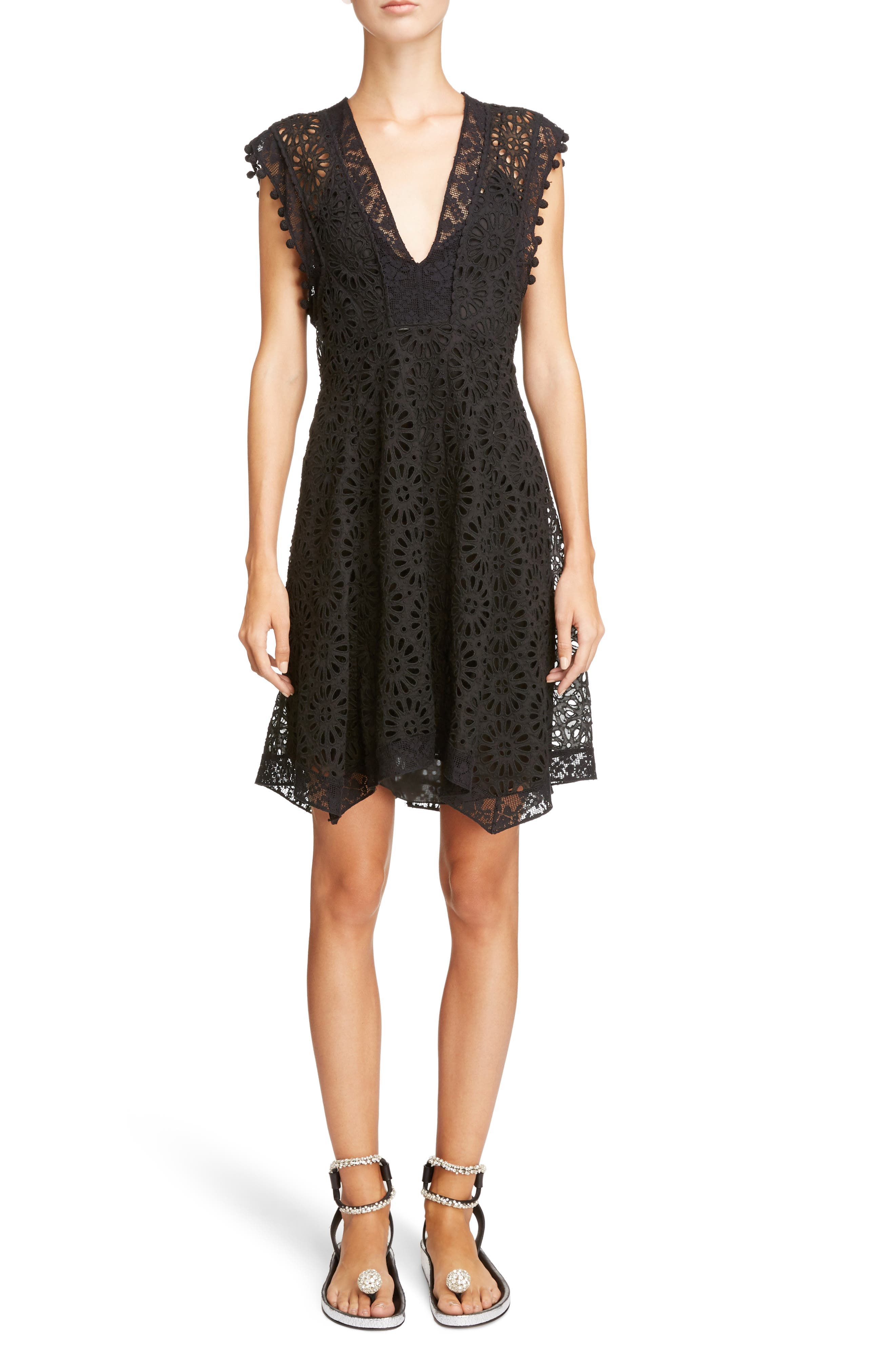 Pompom Trim Broderie Anglaise Dress,                         Main,                         color, Black