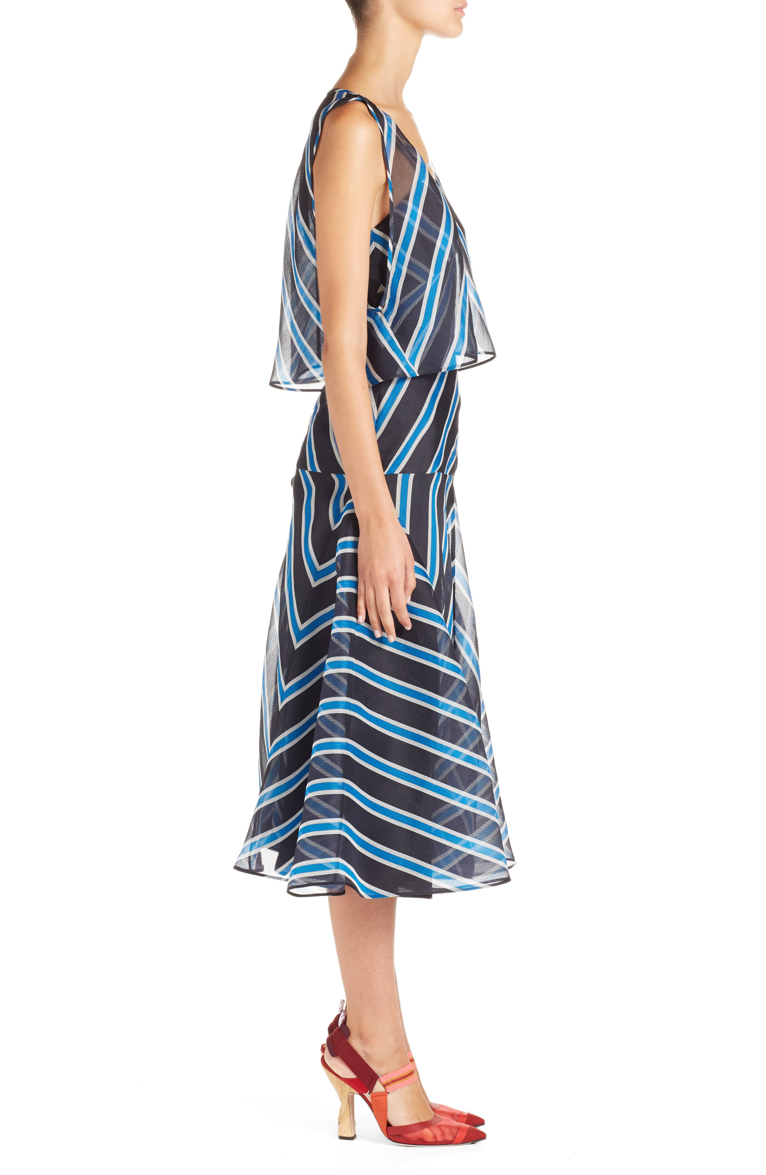 Stripe Silk Convertible Dress,                             Alternate thumbnail 3, color,                             Mercury