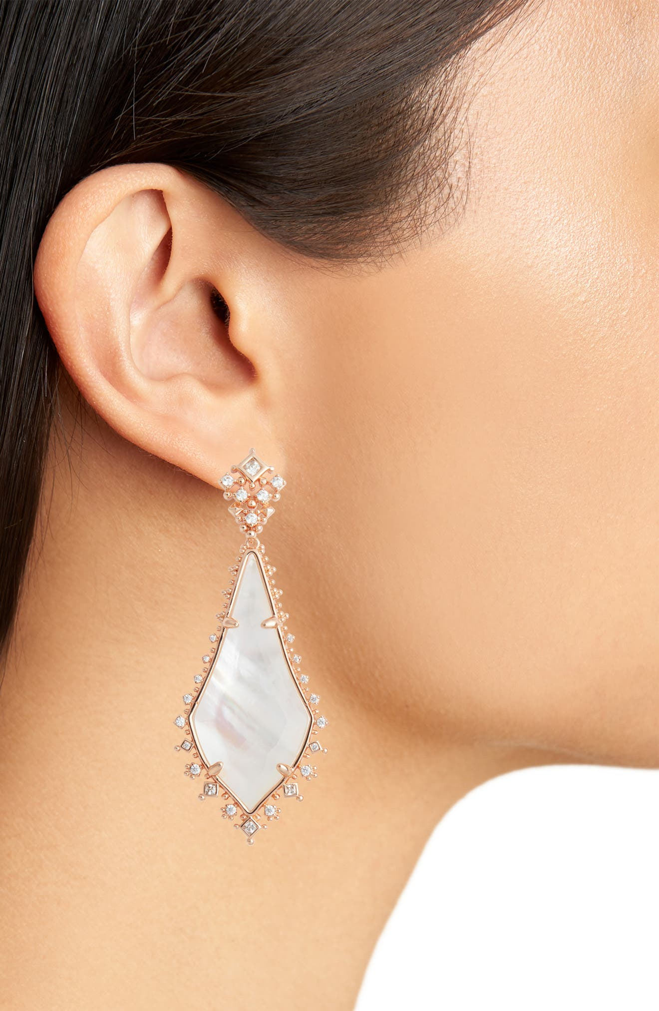 Martha Mother of Pearl Drop Earrings,                             Alternate thumbnail 2, color,                             Rose Gold