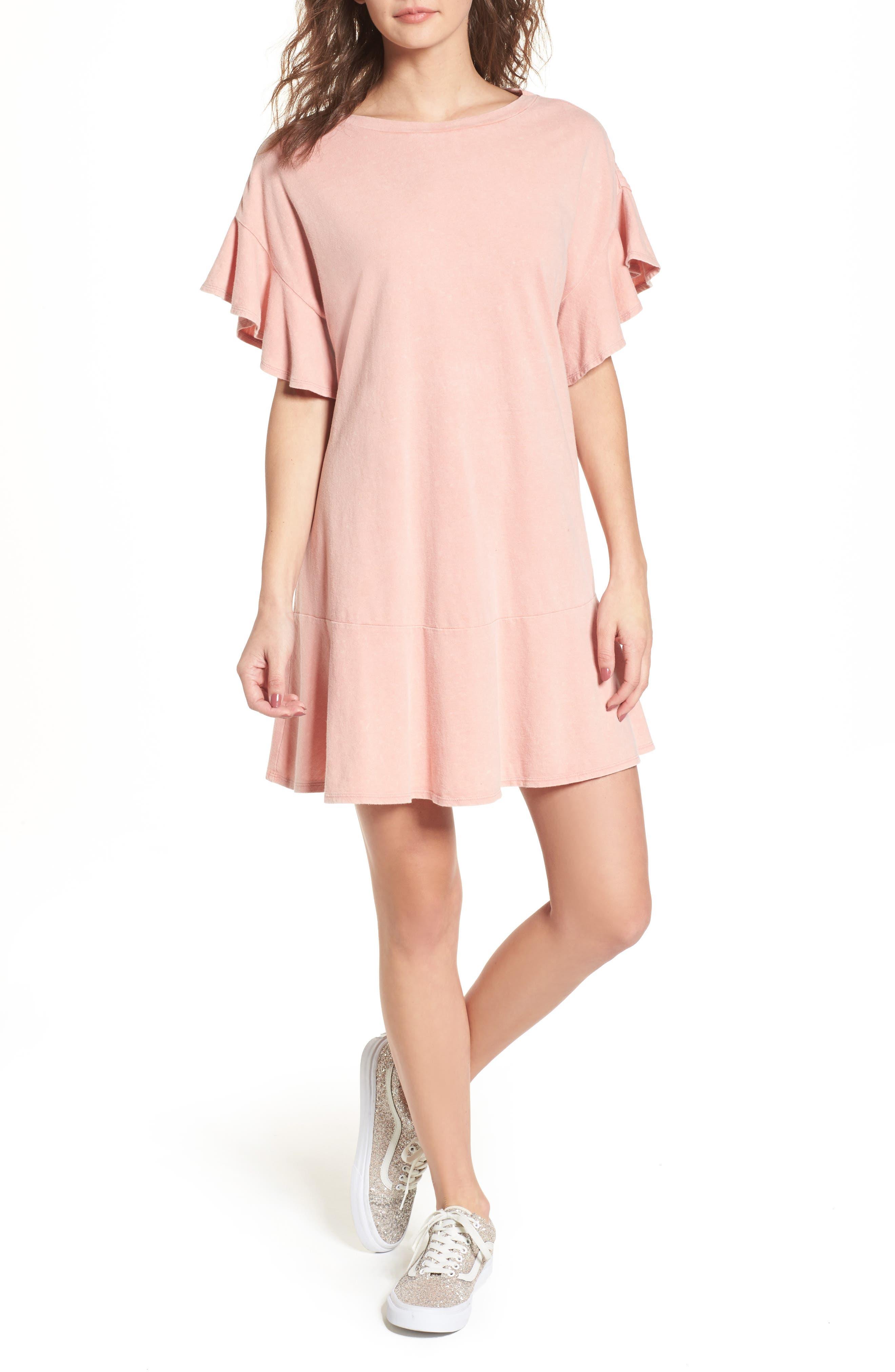 Stonewash Ruffle Trim Dress,                             Main thumbnail 1, color,                             Pink Dawn