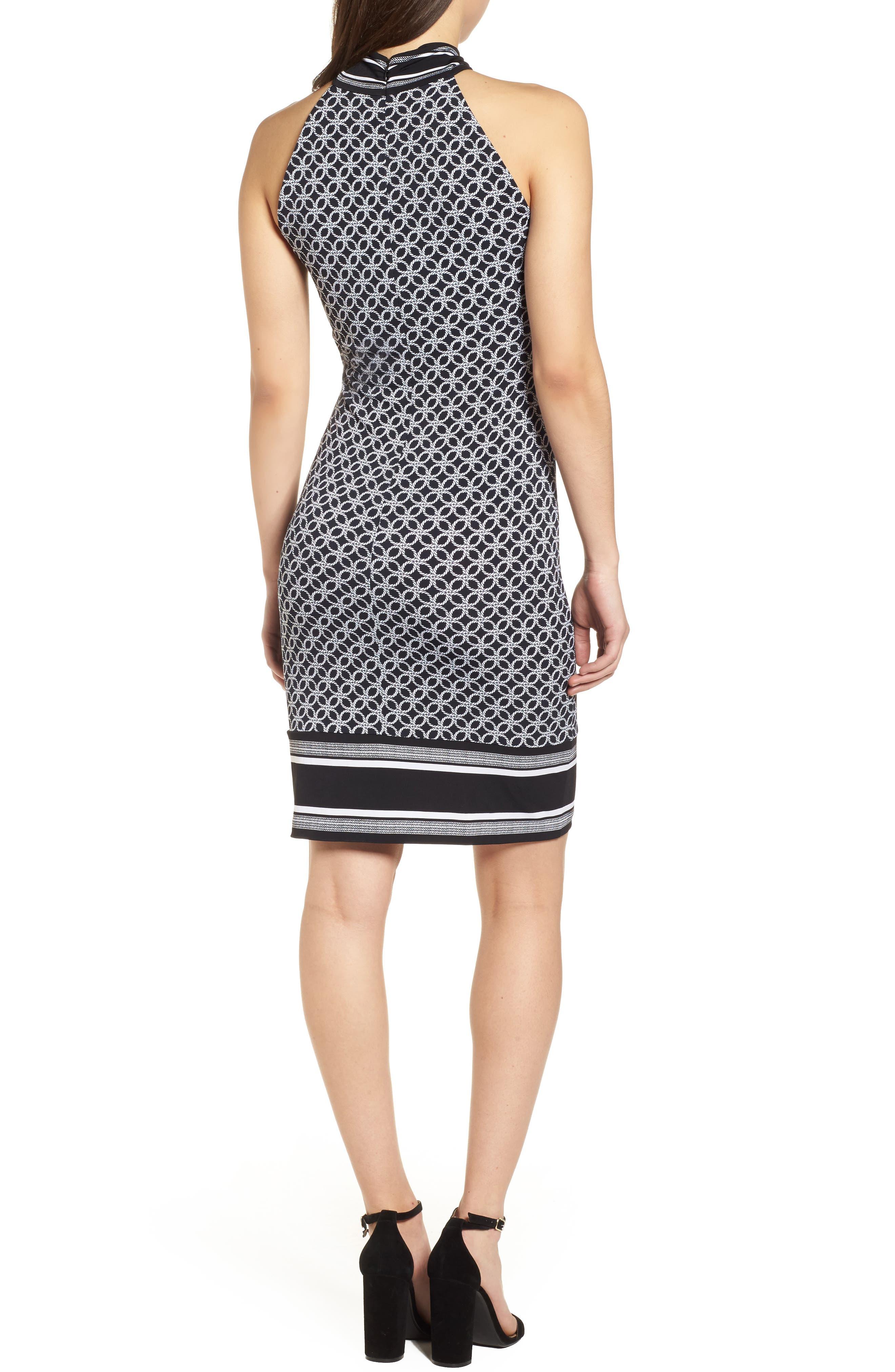 Rope Twist Body-Con Dress,                             Alternate thumbnail 2, color,                             Black/ White