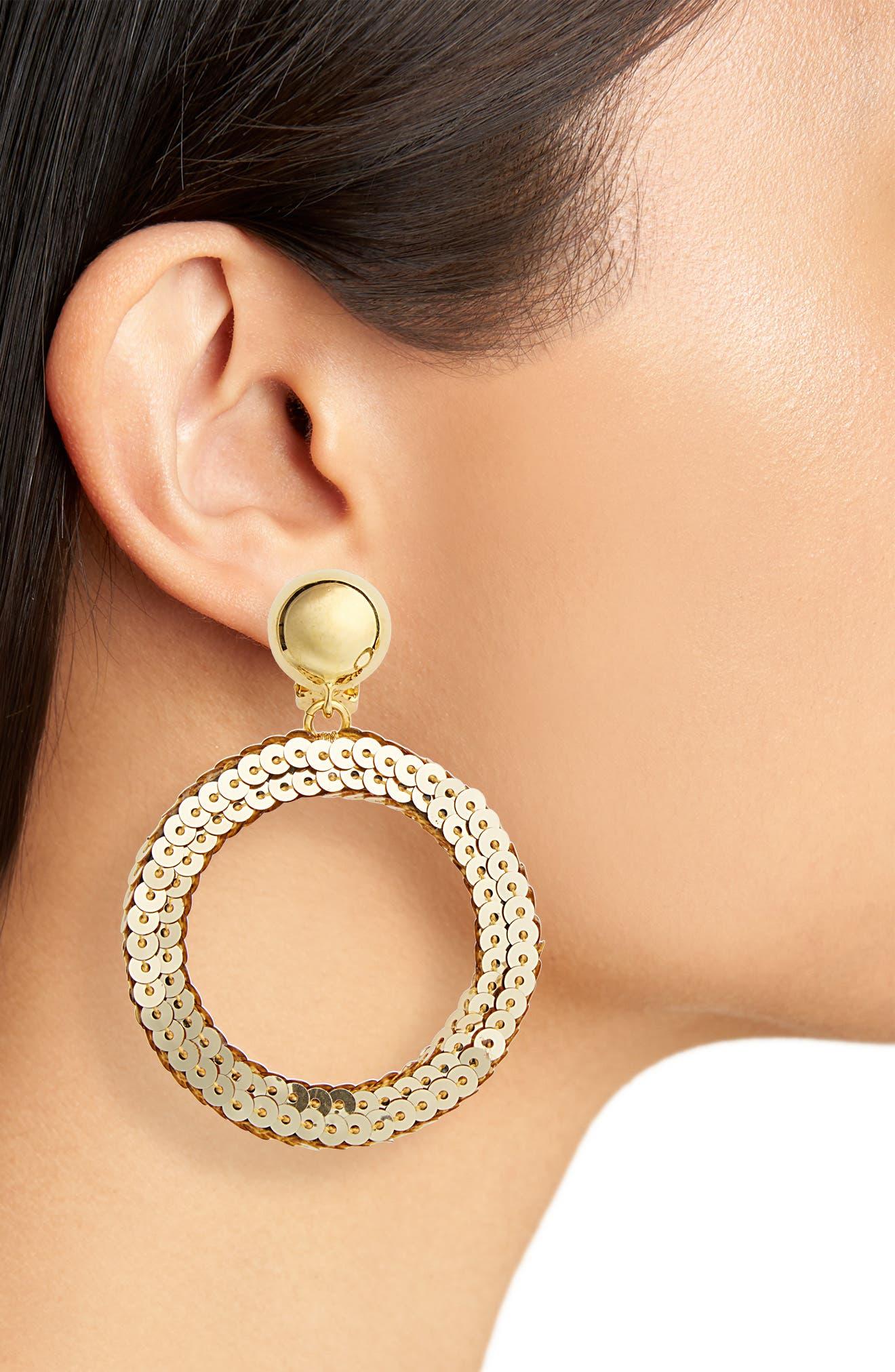 Sequin Drop Earrings,                             Alternate thumbnail 2, color,                             Gold