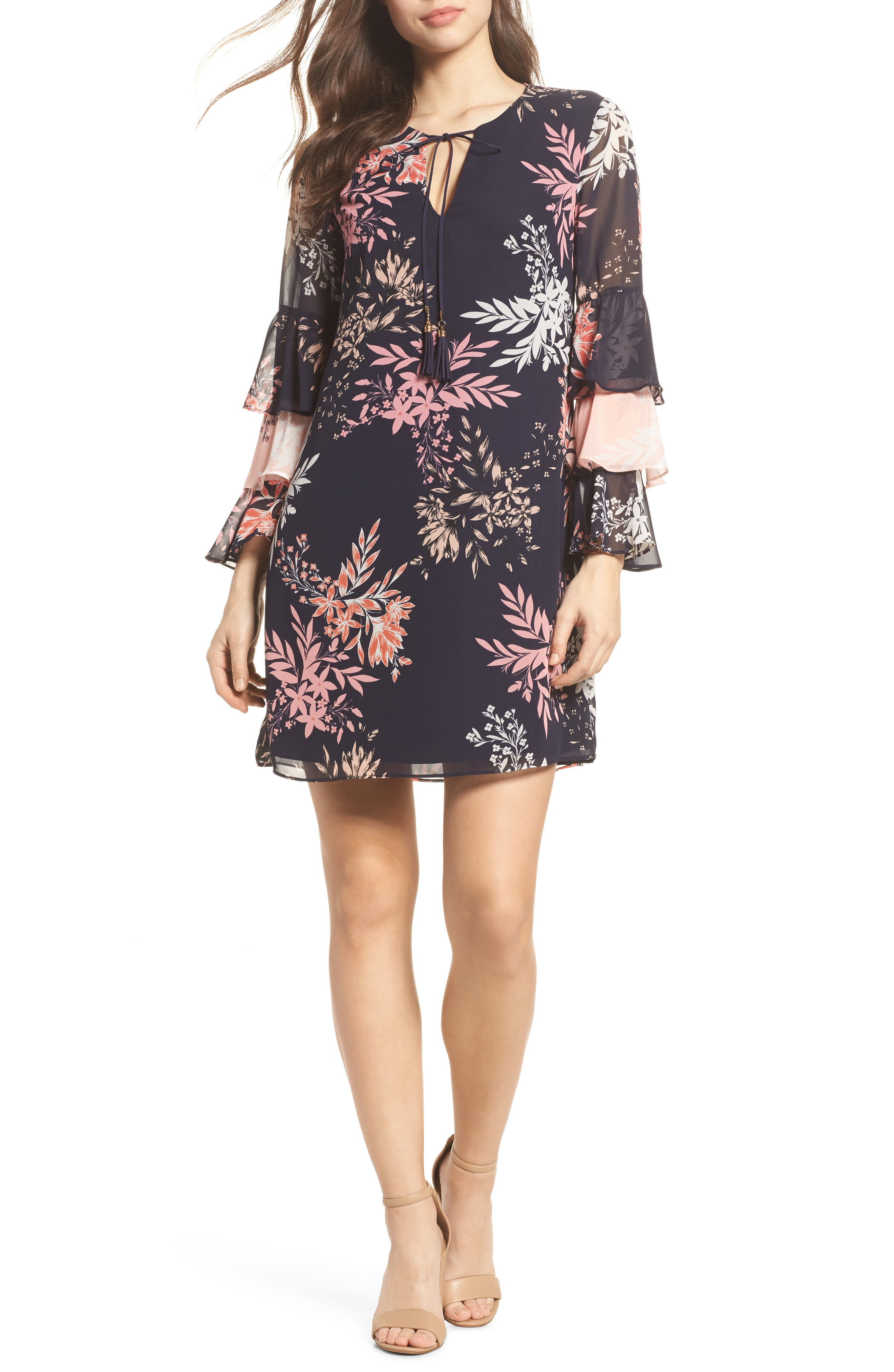 Tiered Ruffle Sleeve Shift Dress,                         Main,                         color, Navy Multi