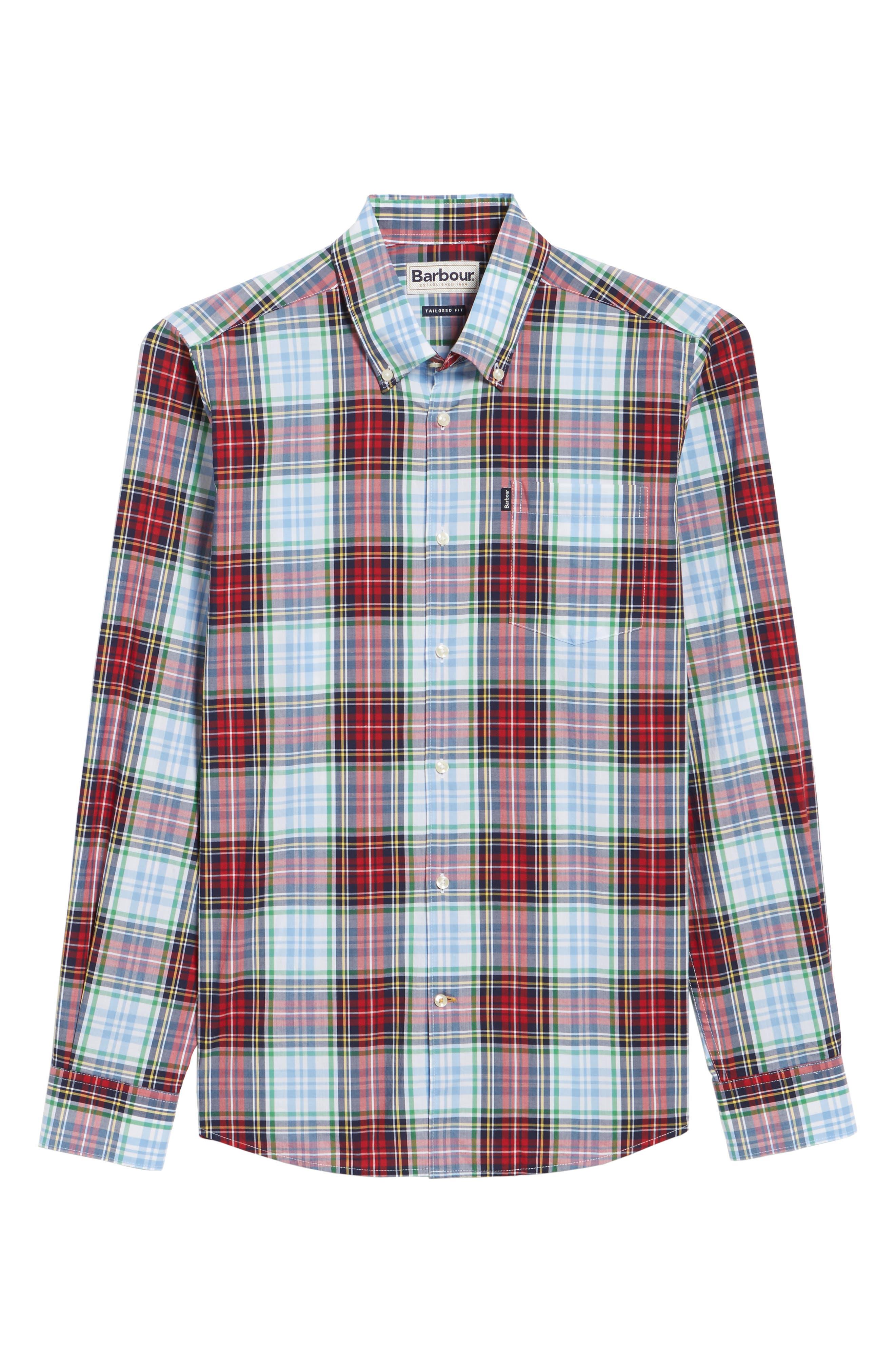 Jeff Trim Fit Plaid Sport Shirt,                             Alternate thumbnail 6, color,                             Red