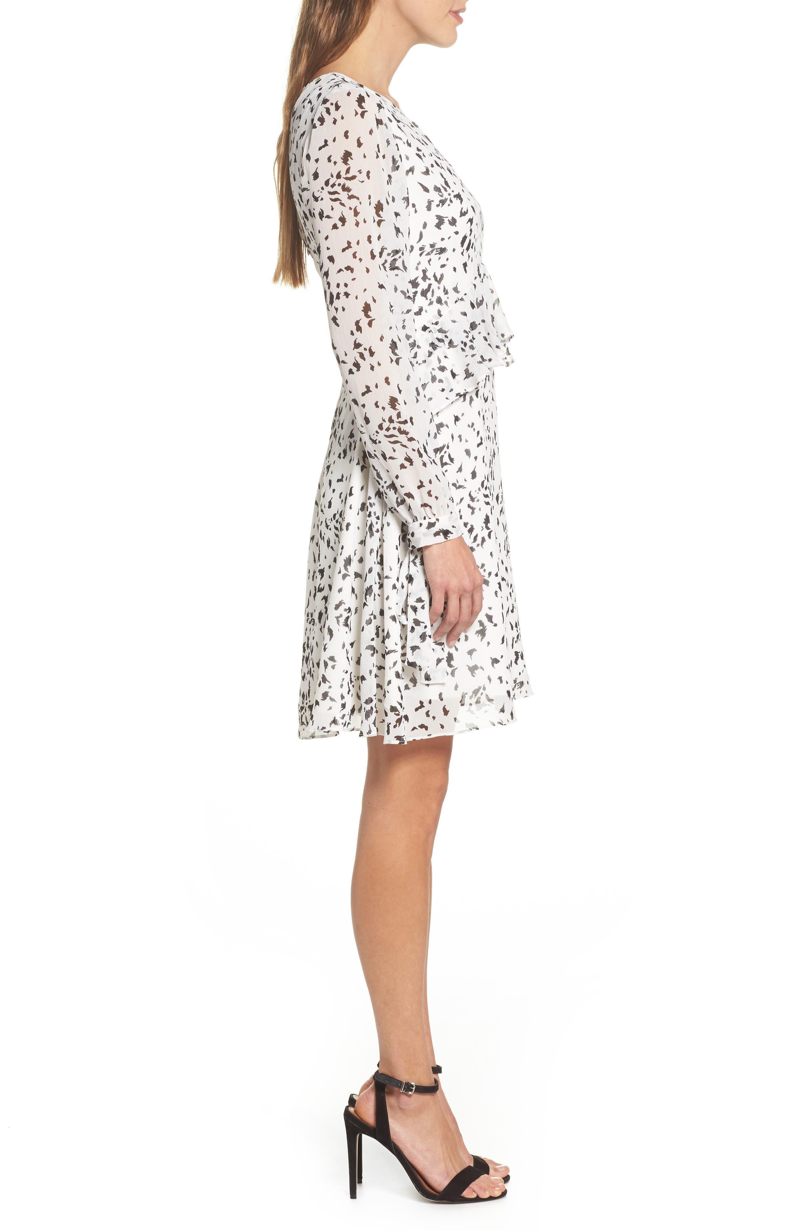 Print Ruffle Dress,                             Alternate thumbnail 3, color,                             White/ Black